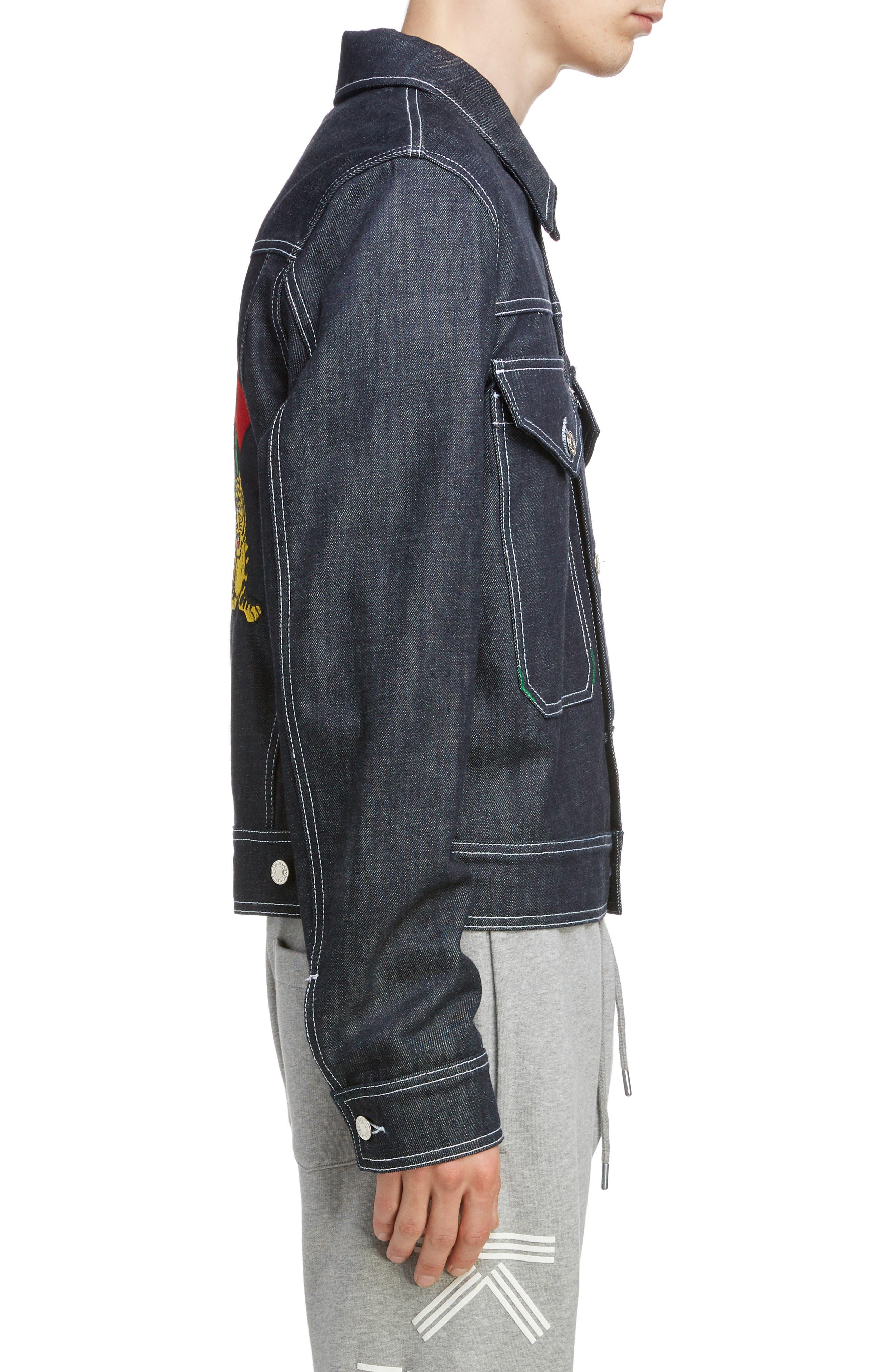 KENZO, Jumping Tiger Embroidered Denim Jacket, Alternate thumbnail 3, color, NAVY BLUE