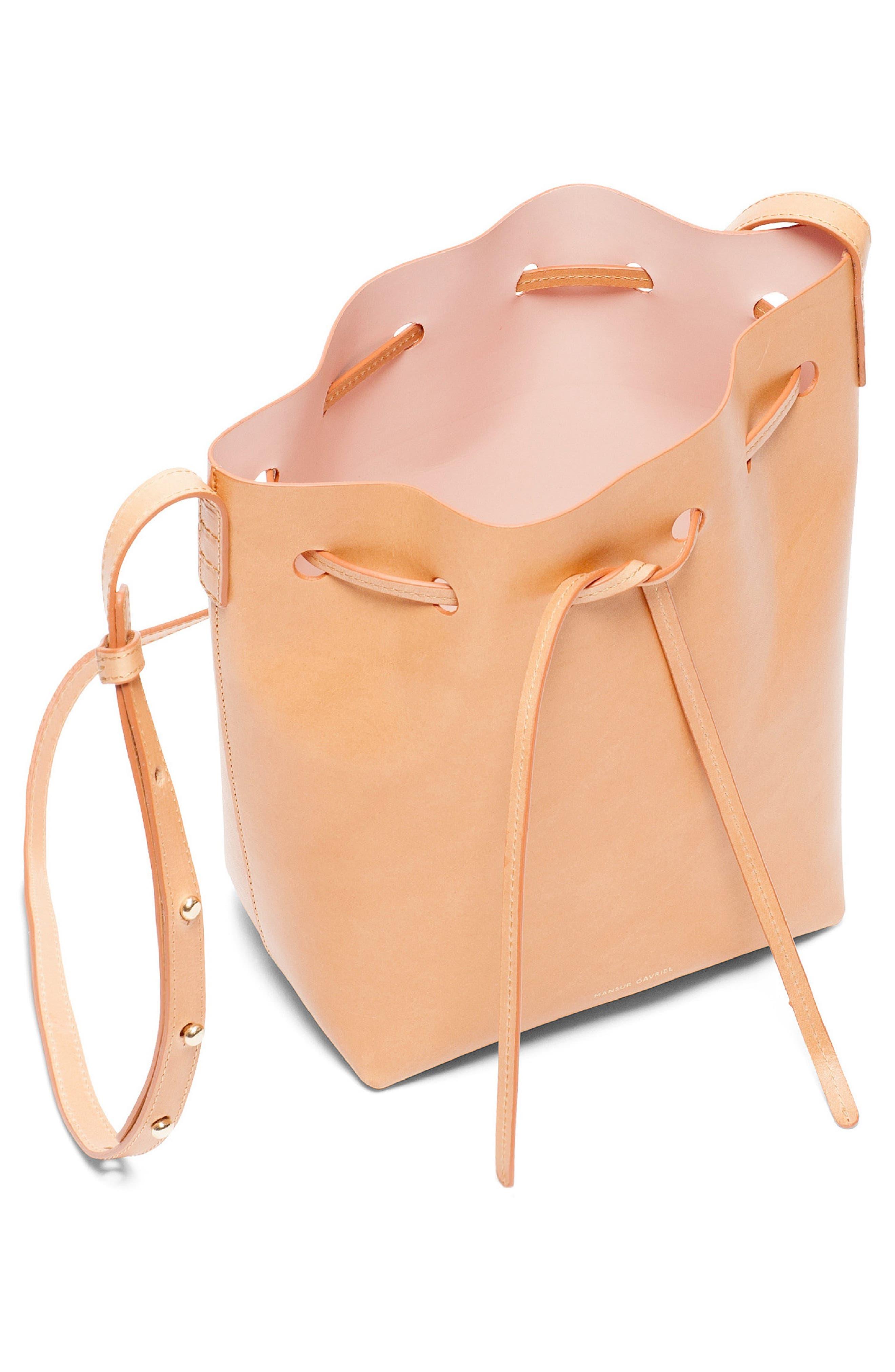 MANSUR GAVRIEL, Mini Mini Leather Bucket Bag, Alternate thumbnail 3, color, CAMMELLO/ ROSA