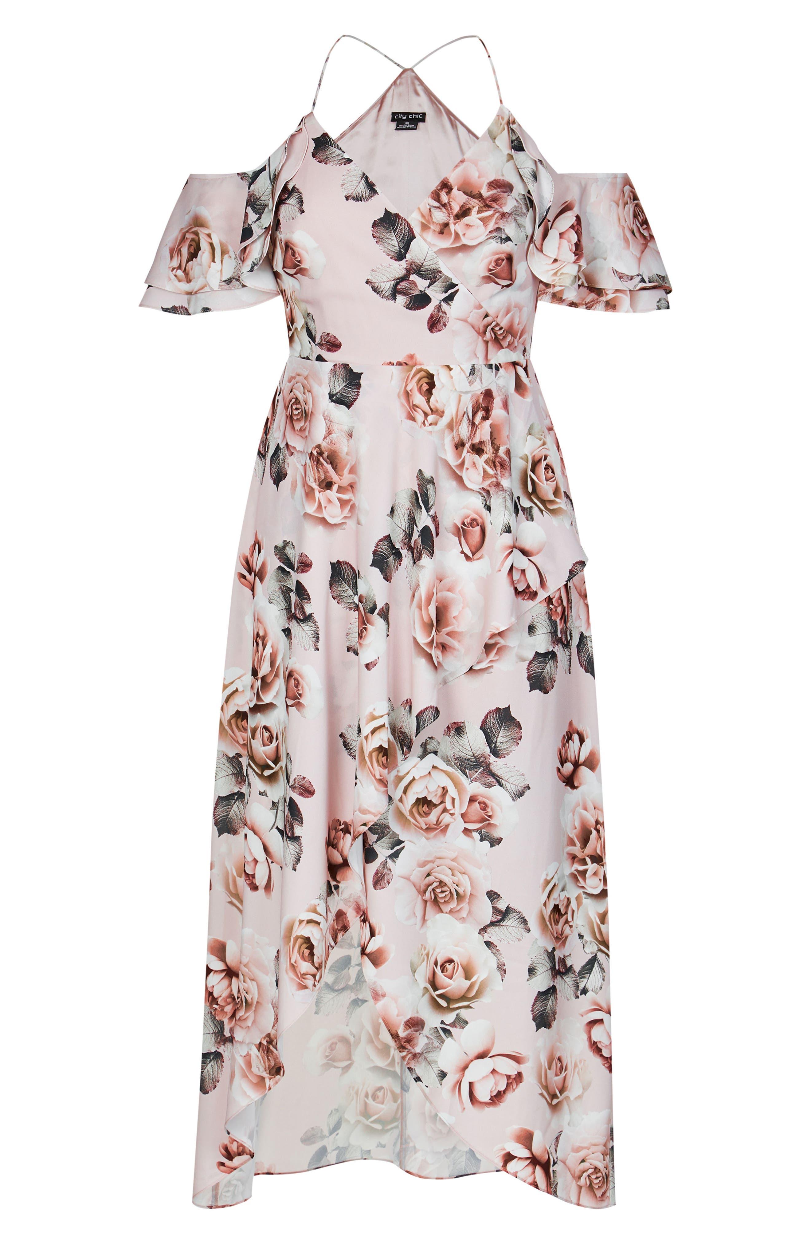 CITY CHIC, Champagne Rose Cold Shoulder Maxi Dress, Alternate thumbnail 3, color, CHAMPAGNE ROSE