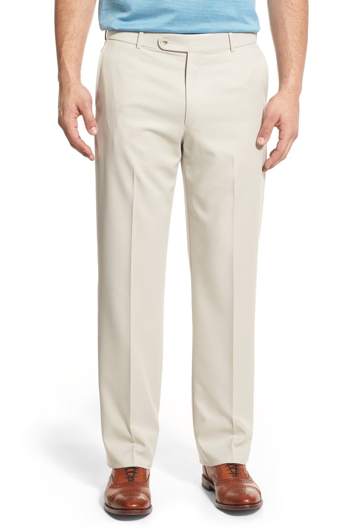 BALLIN, Regular Fit Flat Front Trousers, Main thumbnail 1, color, OYSTER