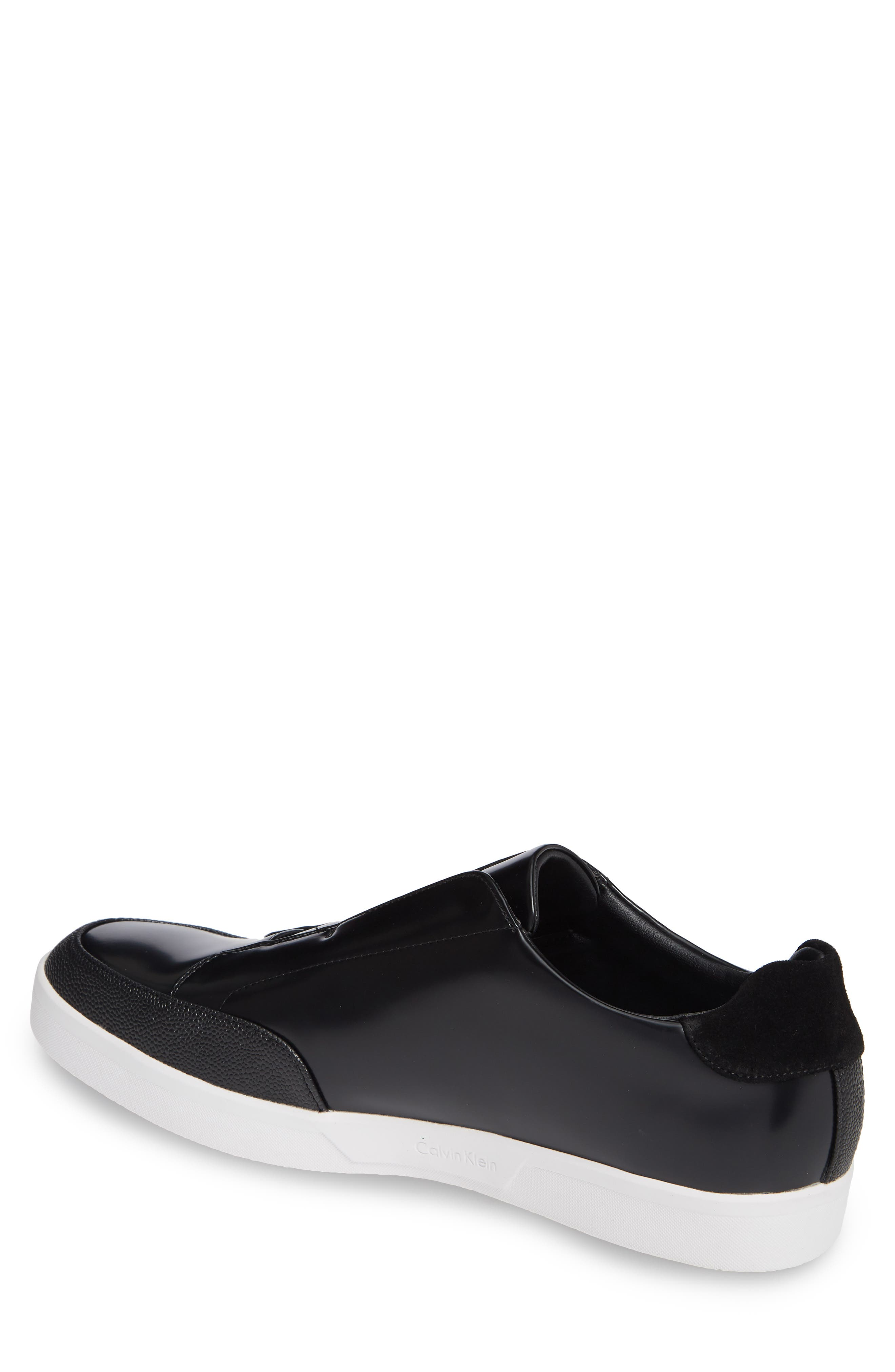 CALVIN KLEIN, Immanuel Slip-On Sneaker, Alternate thumbnail 2, color, BLACK LEATHER