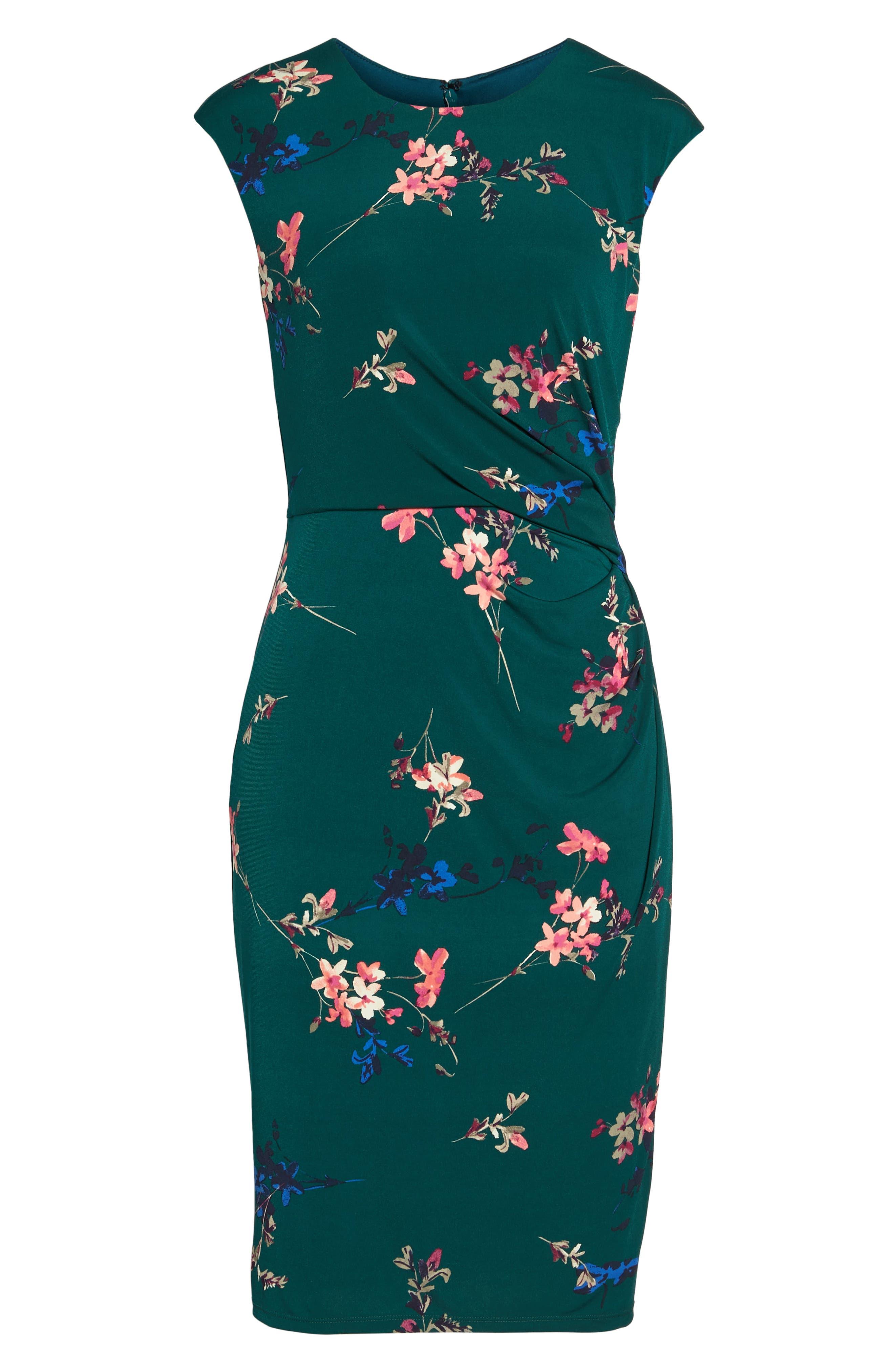 ELIZA J, Cap Sleeve Floral Print Sheath Dress, Alternate thumbnail 7, color, GREEN
