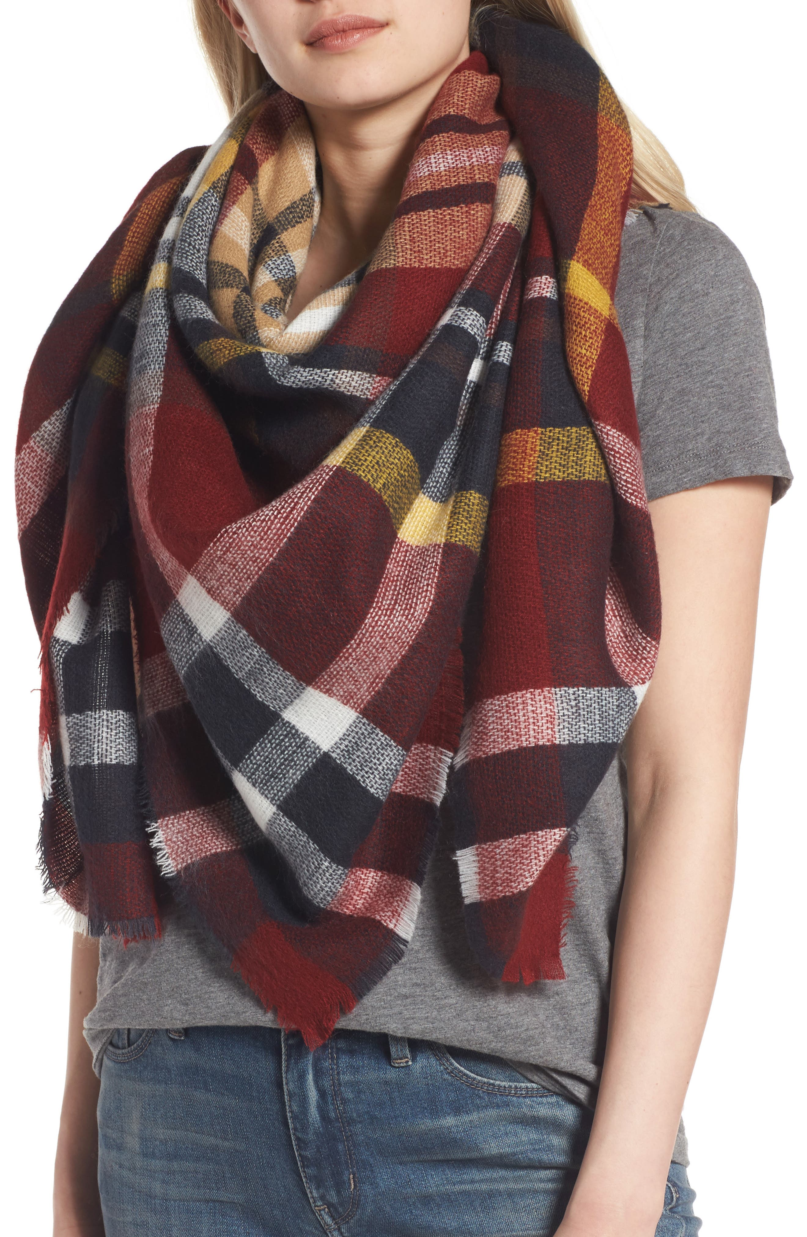 SHIRALEAH, Tatum Plaid Square Scarf, Alternate thumbnail 4, color, 930