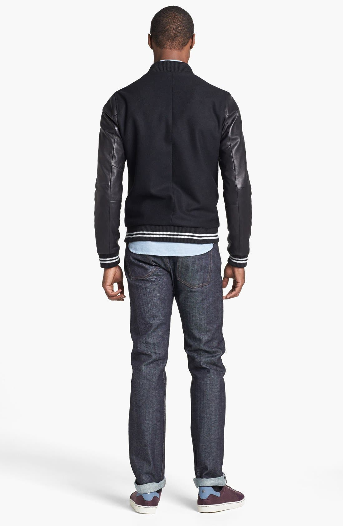 NAKED & FAMOUS DENIM, Weird Guy Slim Fit Raw Jeans, Alternate thumbnail 5, color, STRETCH SELVEDGE