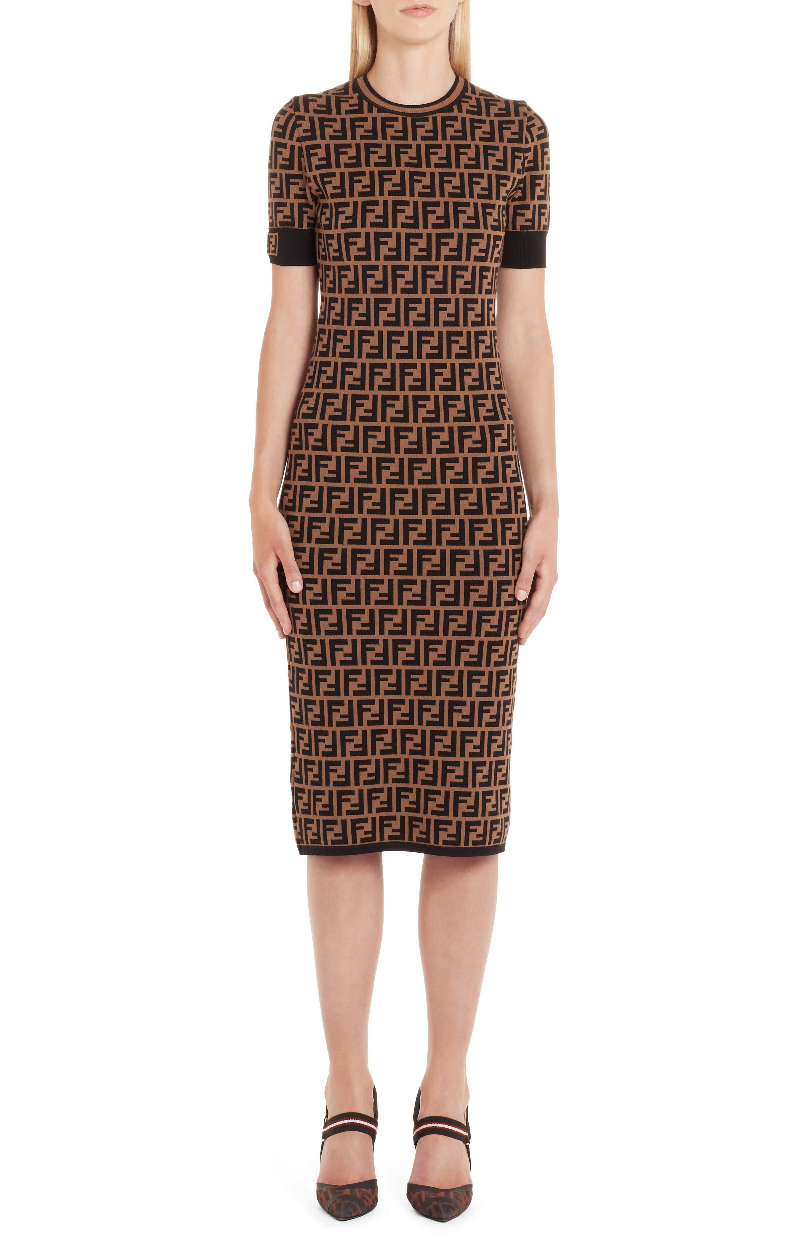 Fendi Ff Logo Knit Dress