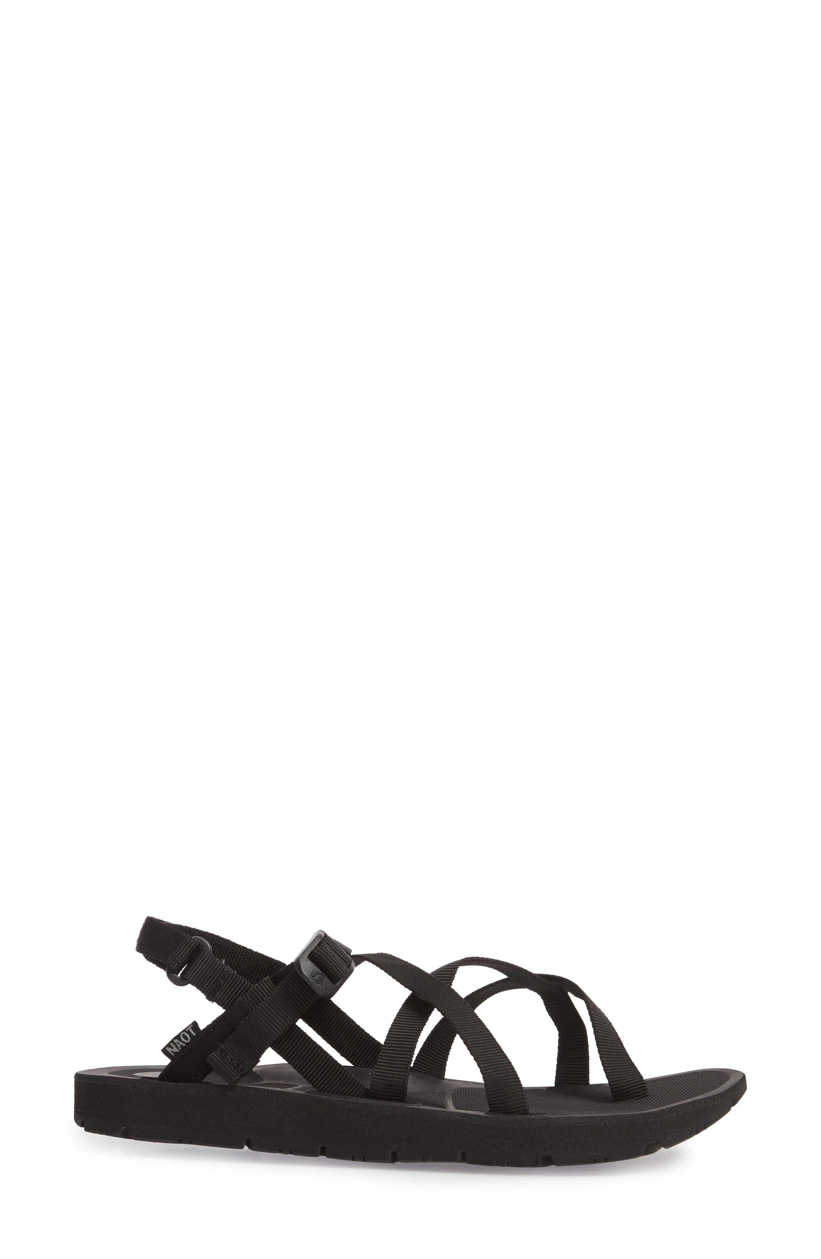 NAOT, Shore Sandal, Alternate thumbnail 3, color, BLACK FABRIC
