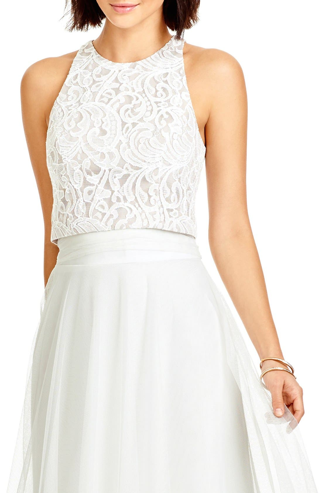 DESSY COLLECTION, Lace Halter Style Crop Top, Alternate thumbnail 4, color, IVORY LACE/ TOPAZ/ IVORY