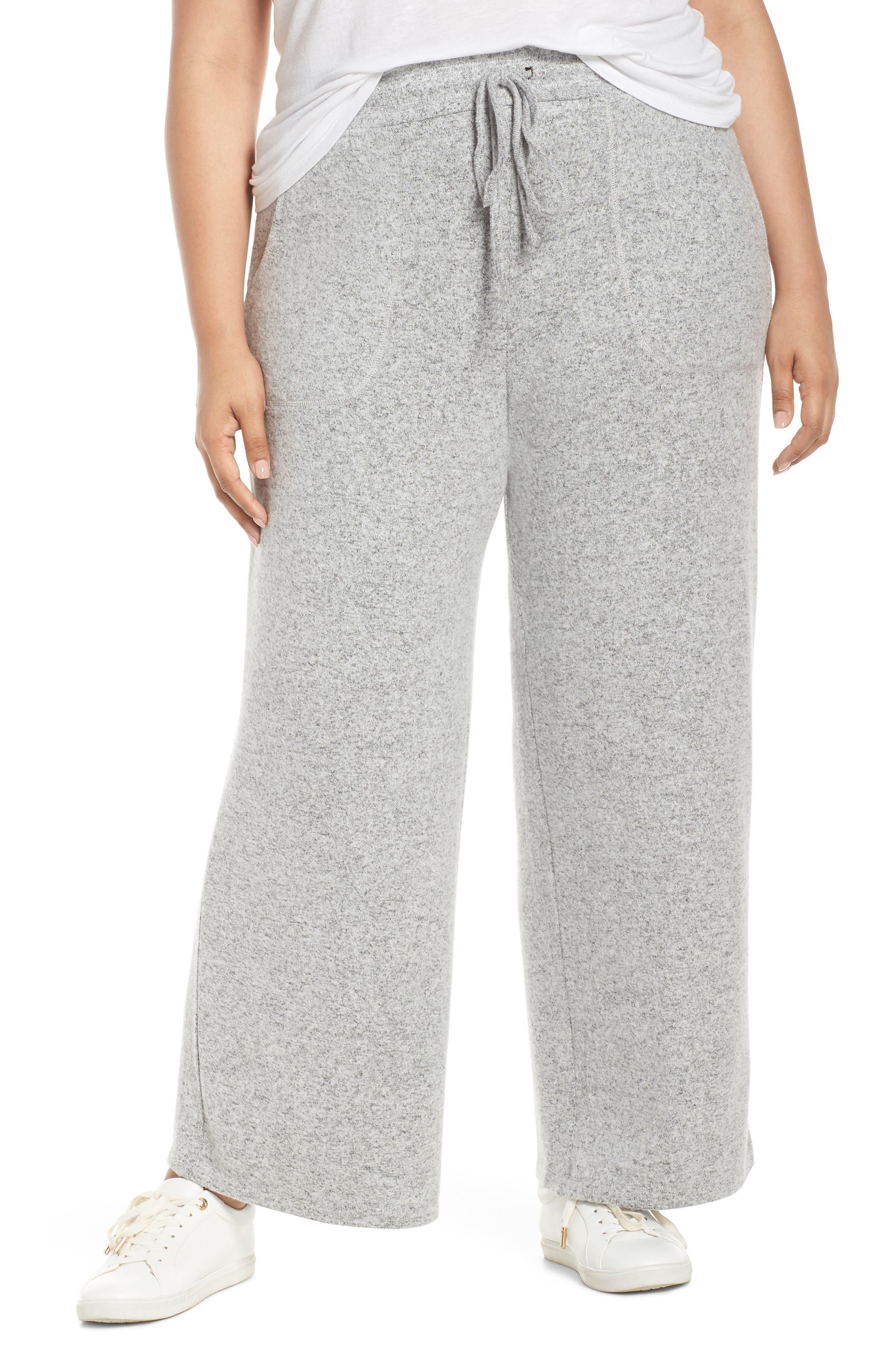 LEMON TART, Norah Knit Lounge Pants, Main thumbnail 1, color, HEATHER GREY