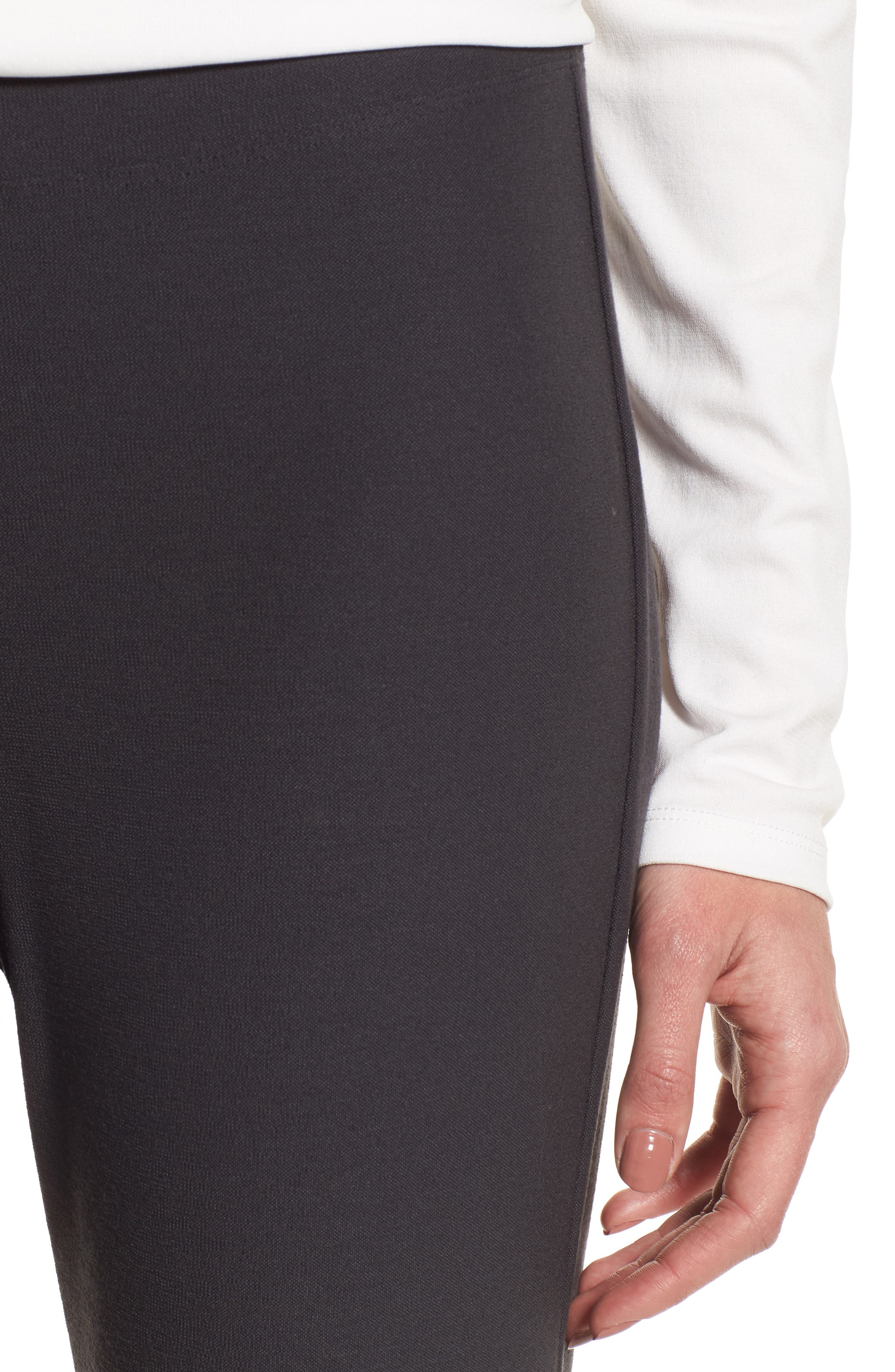 EILEEN FISHER, Stretch Crepe Ankle Pants, Alternate thumbnail 5, color, GRAPHITE