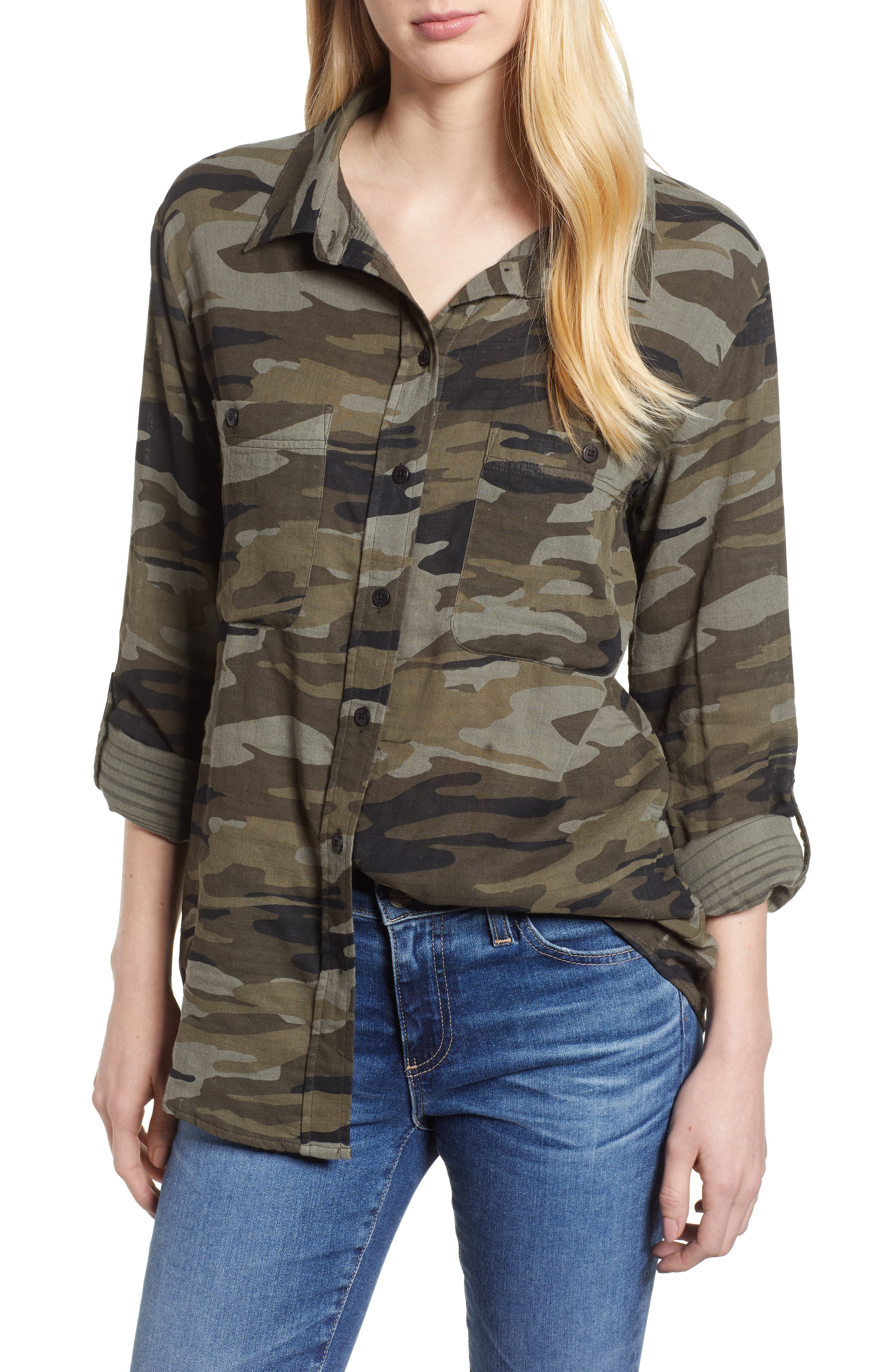 SANCTUARY, Steady Boyfriend Camo Shirt, Main thumbnail 1, color, GARDEN CAMO
