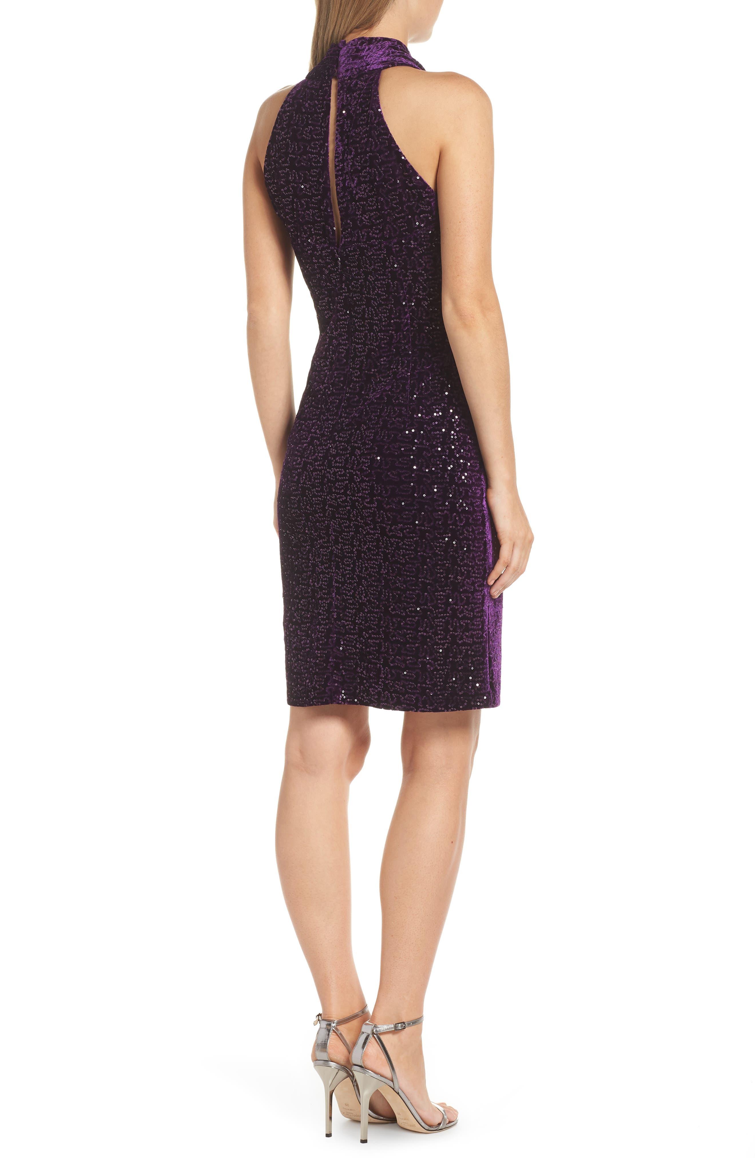 ELIZA J, Halter Sheath Dress, Alternate thumbnail 2, color, PLUM