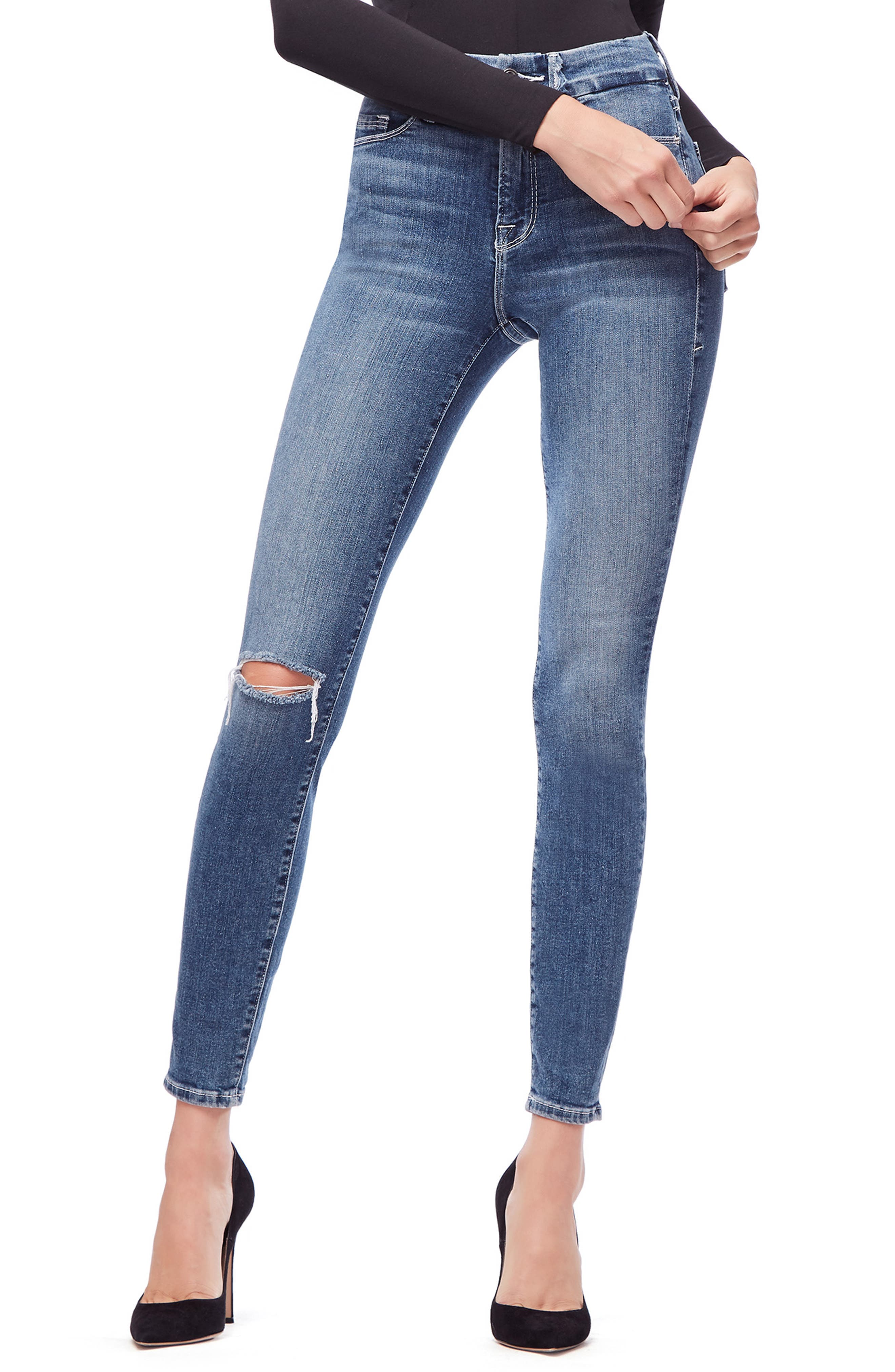 GOOD AMERICAN Good Legs High Waist Skinny Jeans, Main, color, BLUE186