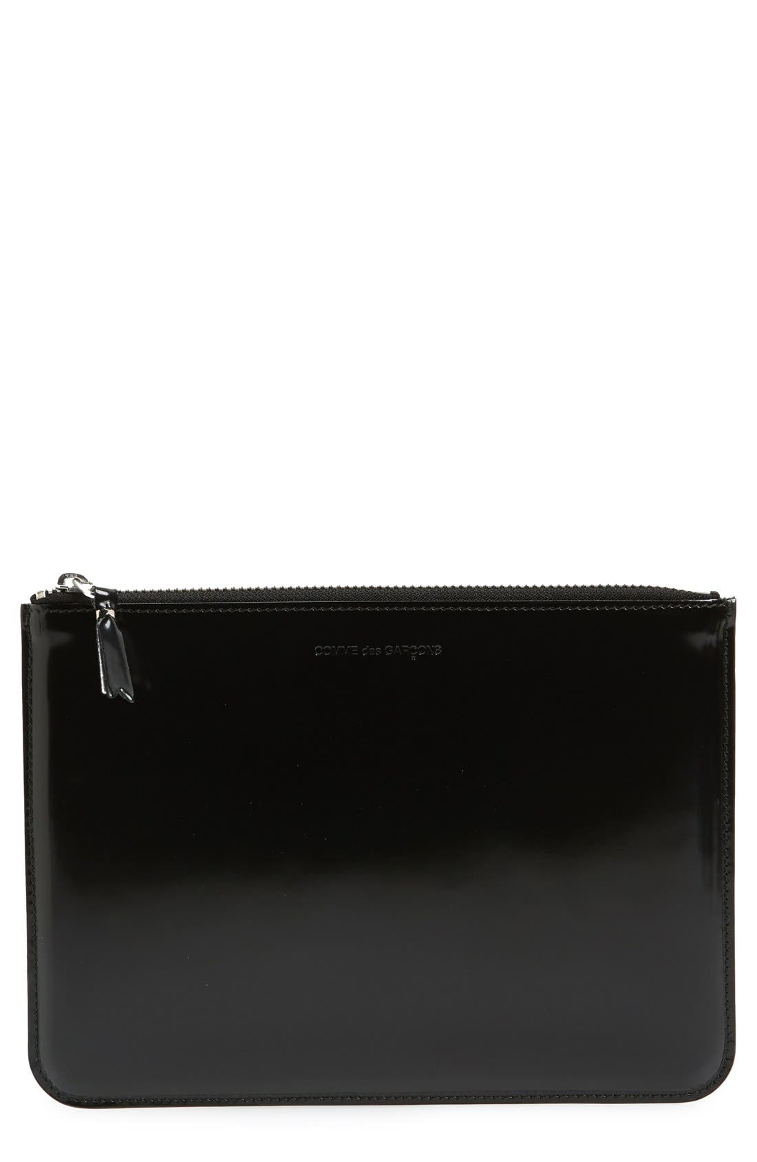 COMME DES GARÇONS Large Top Zip Leather Pouch, Main, color, SILVER