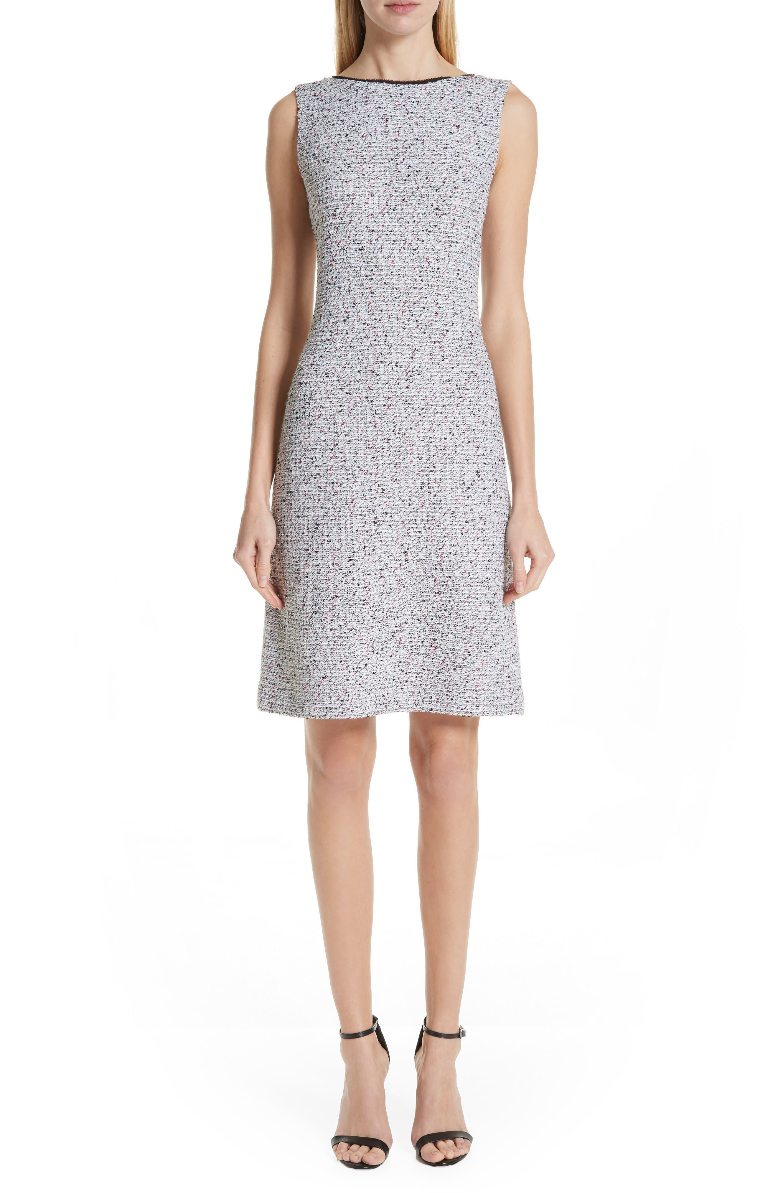 ST. JOHN COLLECTION Alicia Knit Sheath Dress, Main, color, WHITE/ FLAMINGO MULTI