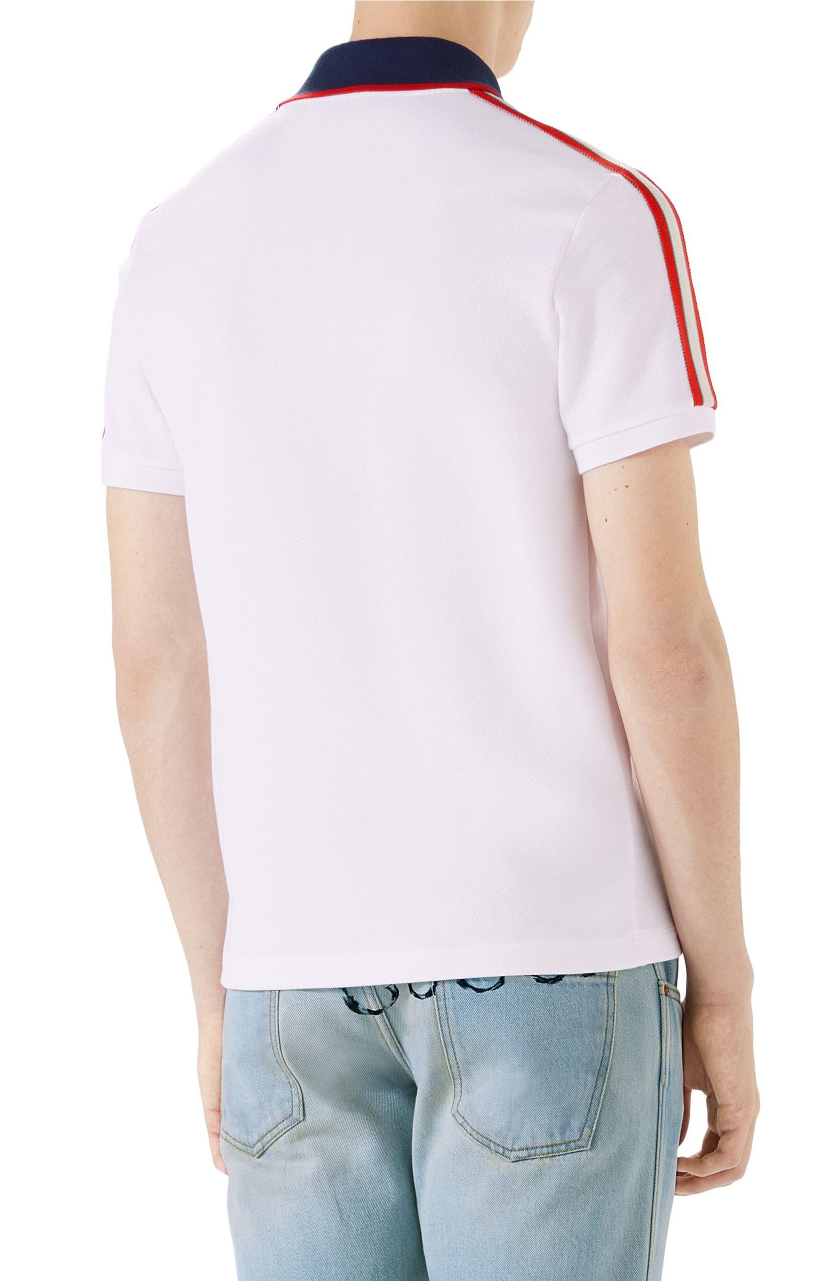 9cf464a25c0c Gucci Jacquard Stripe Sleeve Piqué Polo