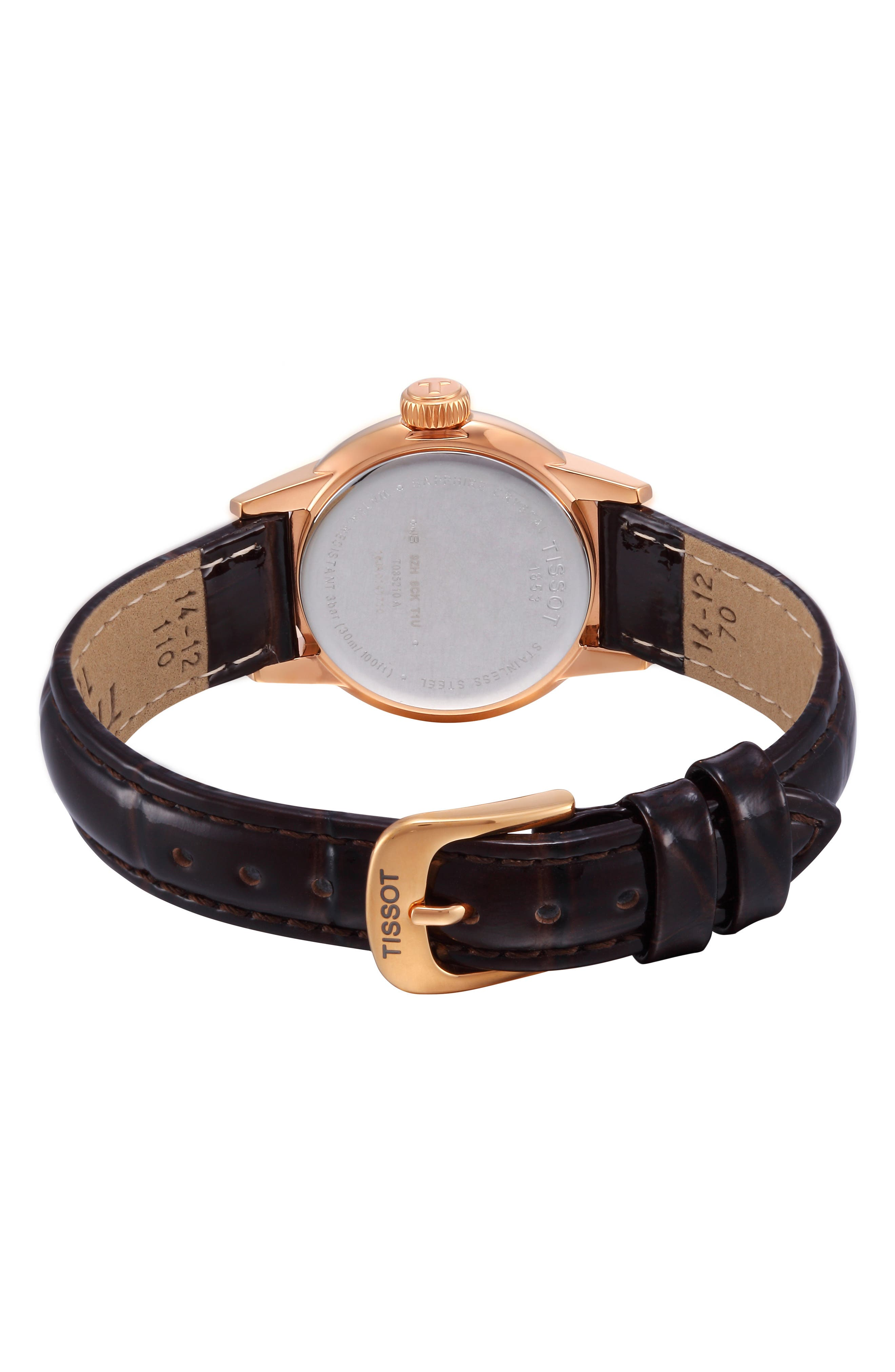 TISSOT, Carson Leather Strap Watch, 28mm, Alternate thumbnail 7, color, 201