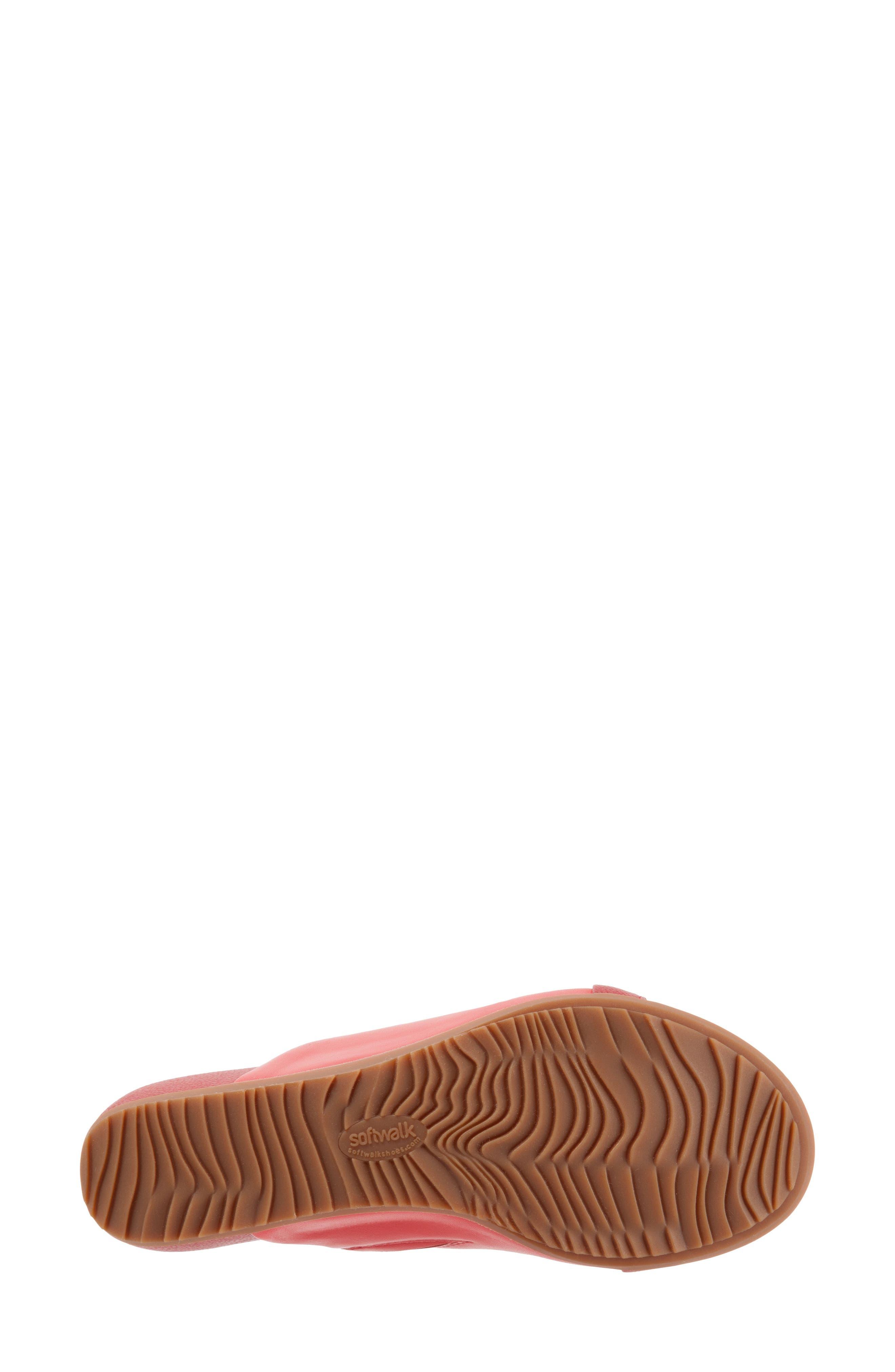SOFTWALK<SUP>®</SUP>, Del Mar Slide Sandal, Alternate thumbnail 6, color, RED LEATHER