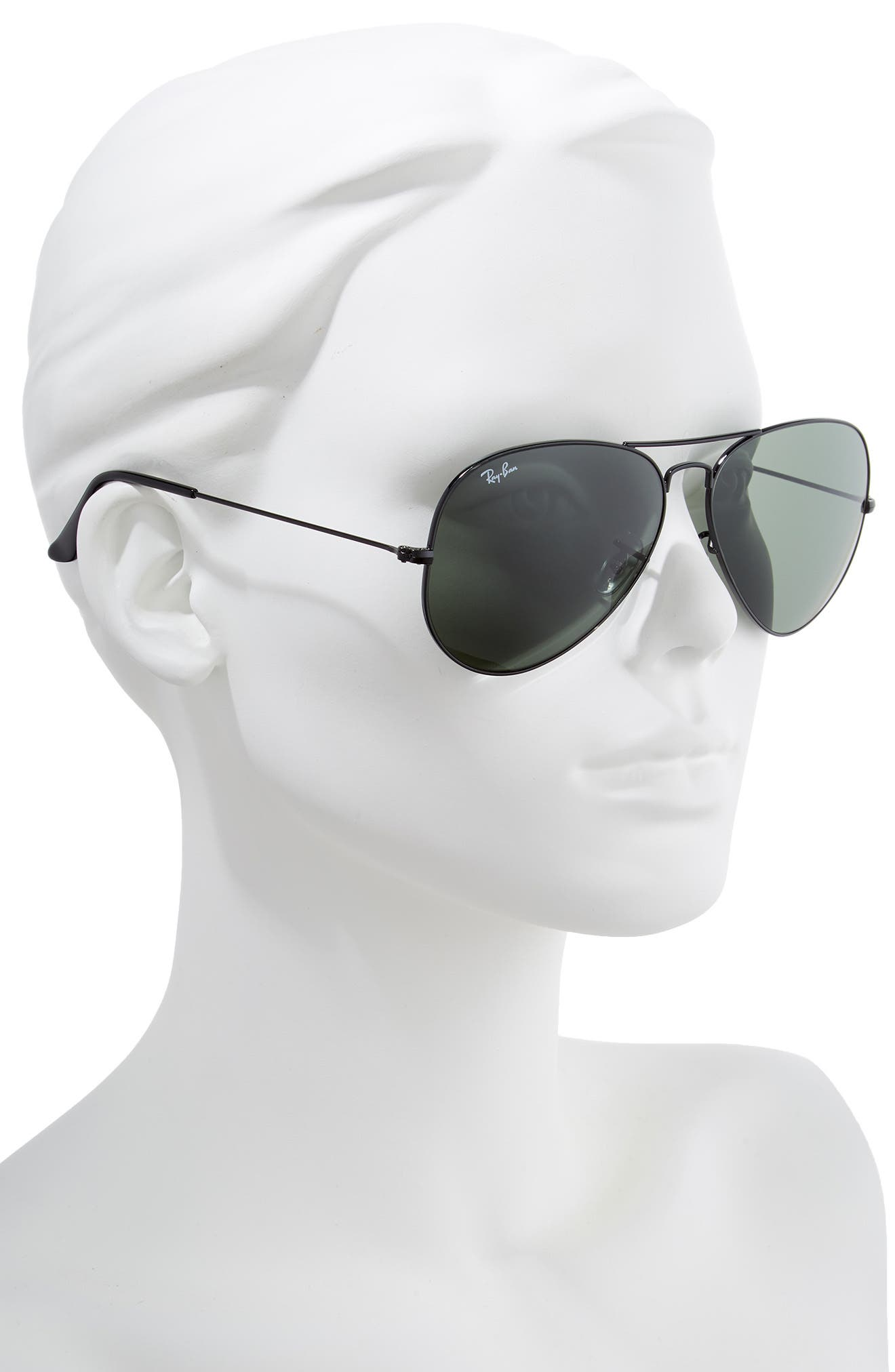 RAY-BAN, 62mm Aviator Sunglasses, Alternate thumbnail 2, color, BLACK/ GREEN SOLID