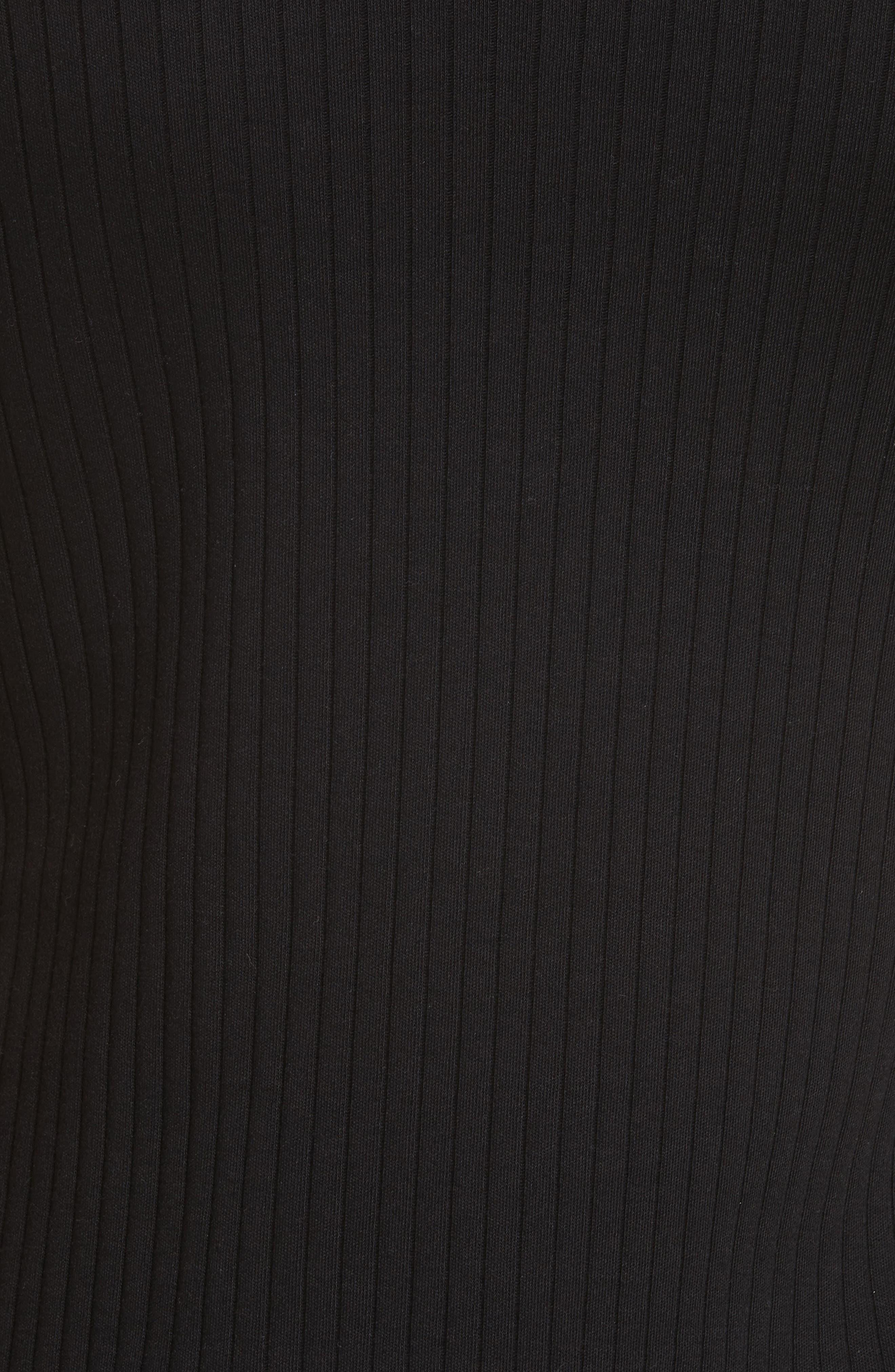 HELMUT LANG, Ribbed Slash Sleeve Dress, Alternate thumbnail 6, color, BLACK