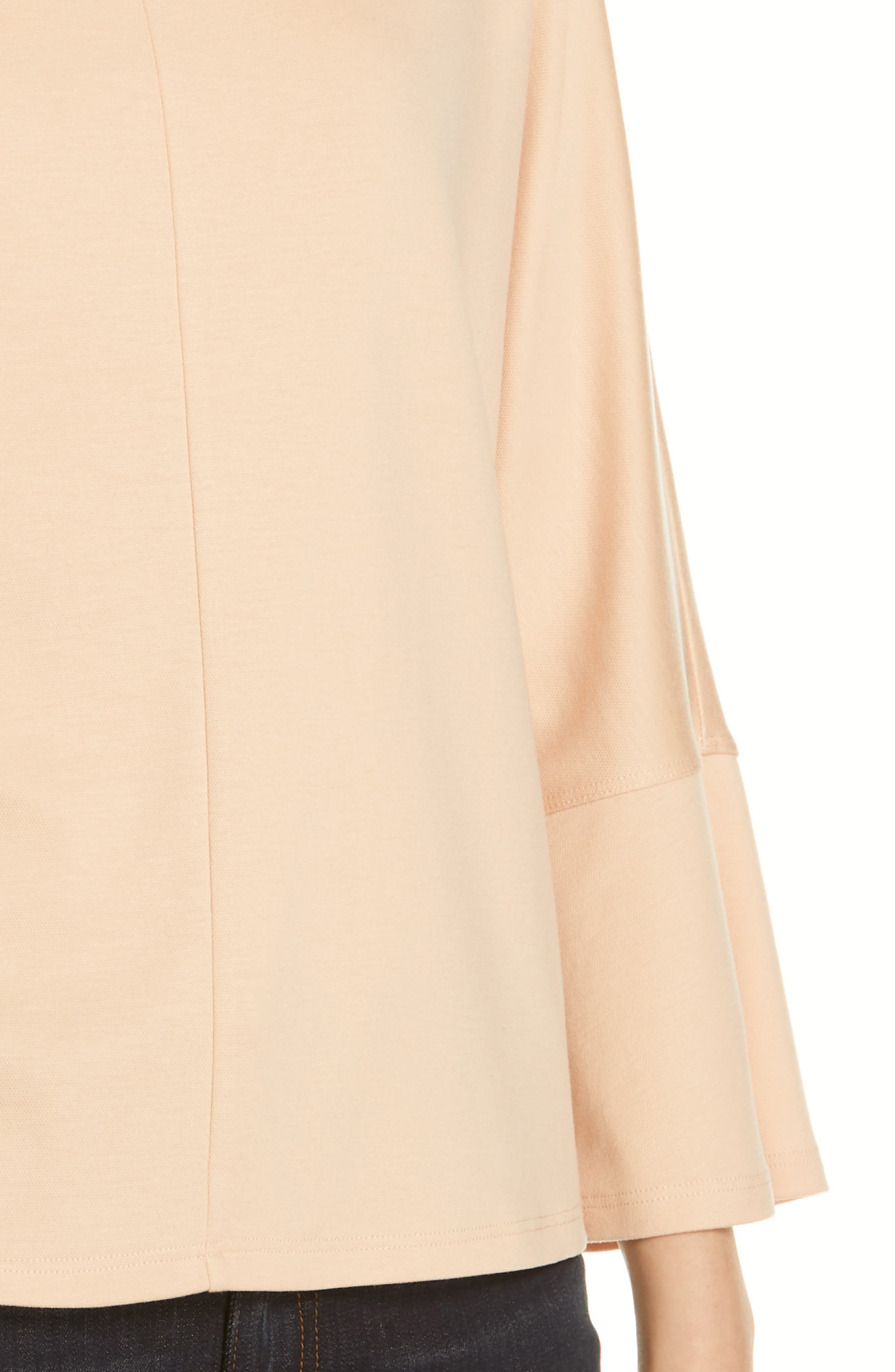 EILEEN FISHER, Bell Sleeve Top, Alternate thumbnail 4, color, ROSE WATER