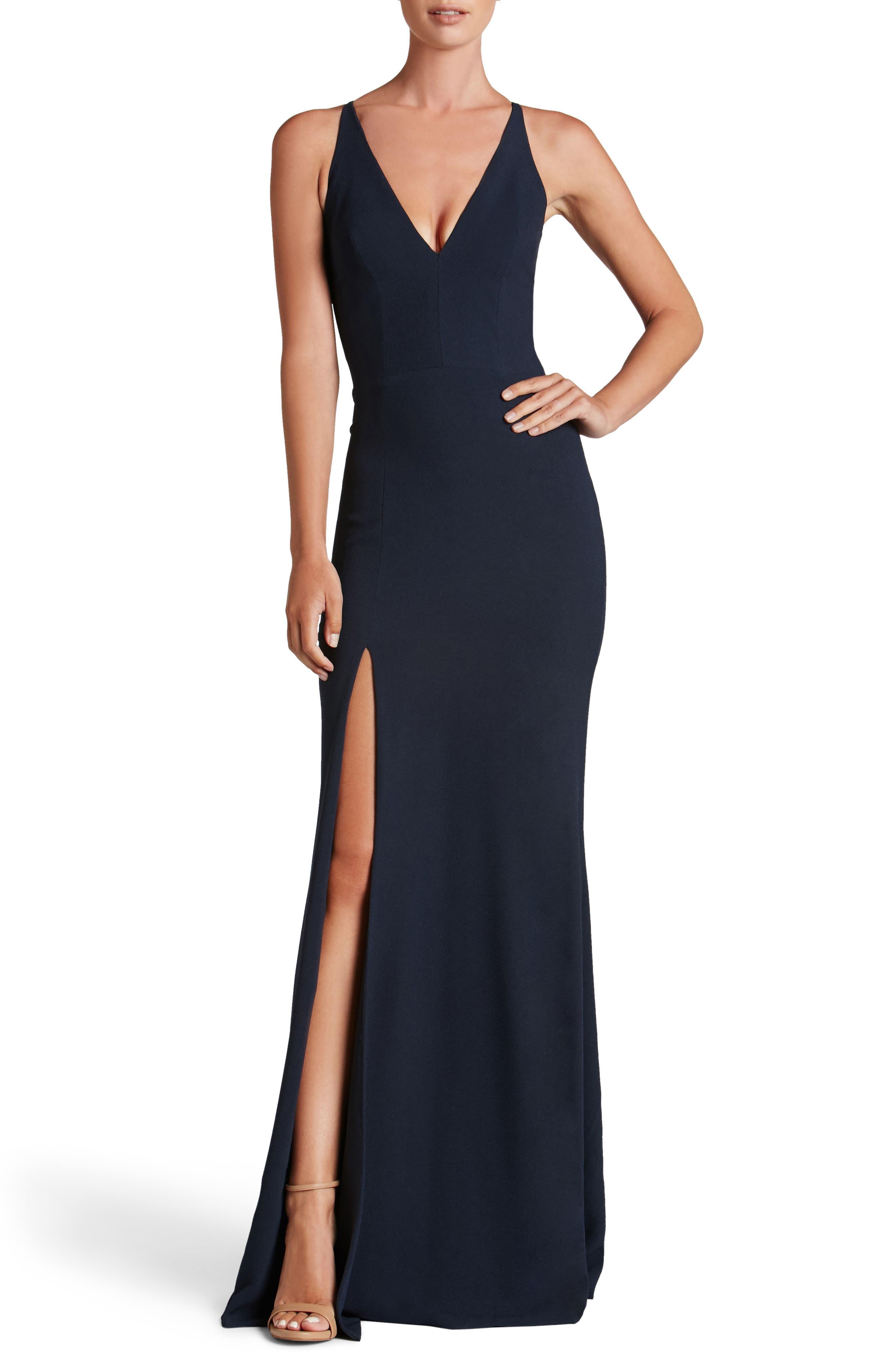 Dress The Population Iris Slit Crepe Gown, Blue
