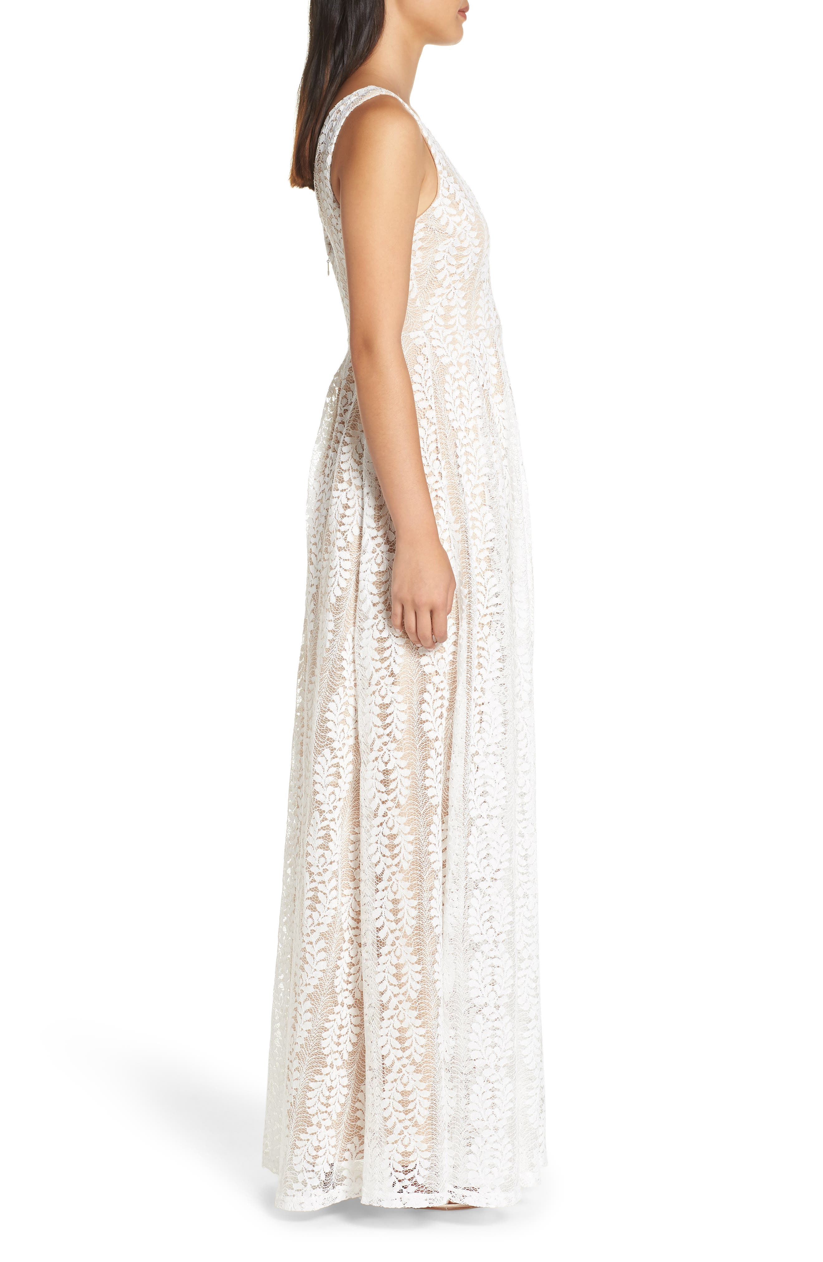 LULUS, Eliana Lace V-Neck Gown, Alternate thumbnail 4, color, WHITE/ NUDE