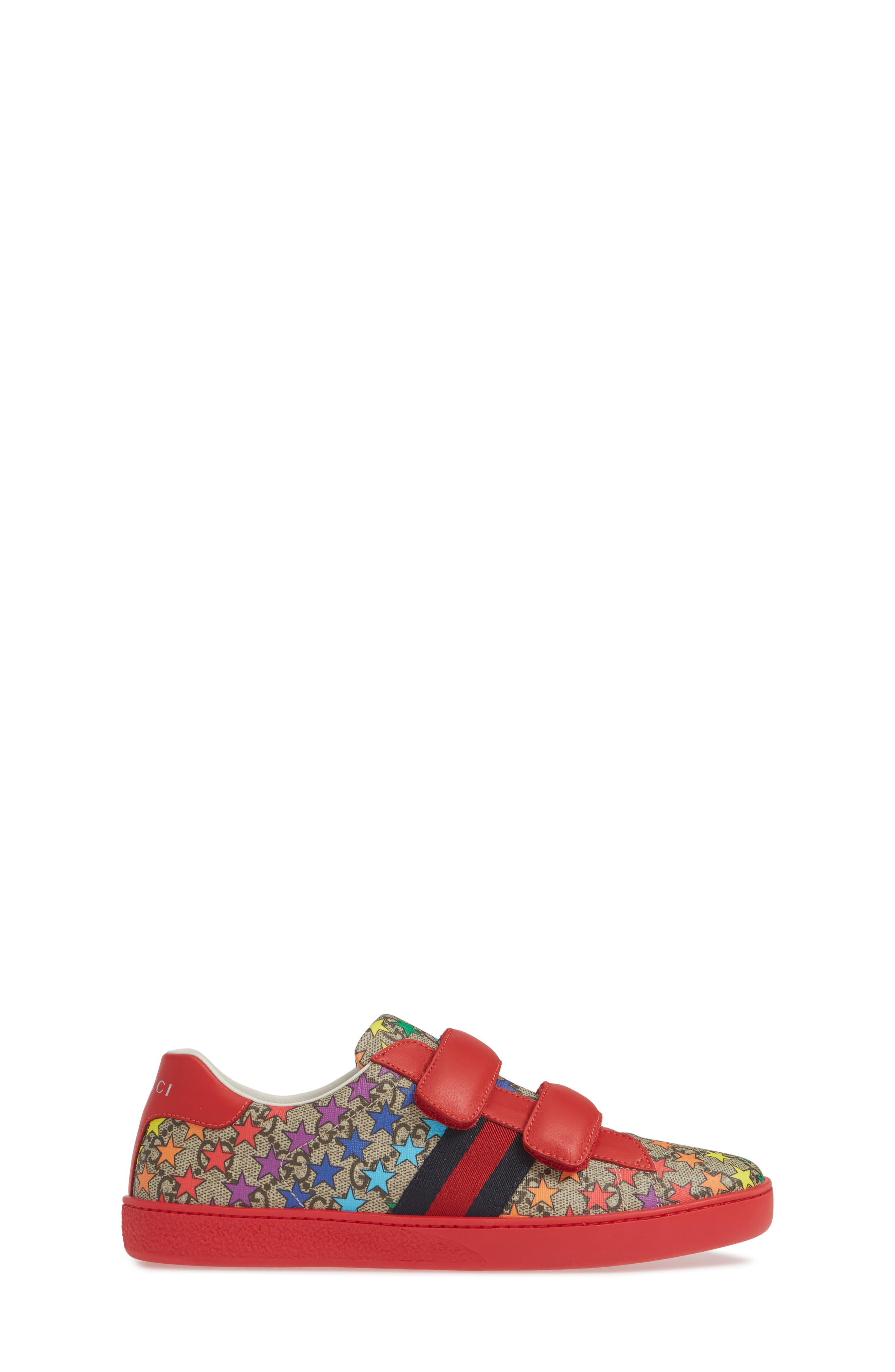 GUCCI, New Ace Sneaker, Alternate thumbnail 3, color, RED/ BEIGE/ EBONY