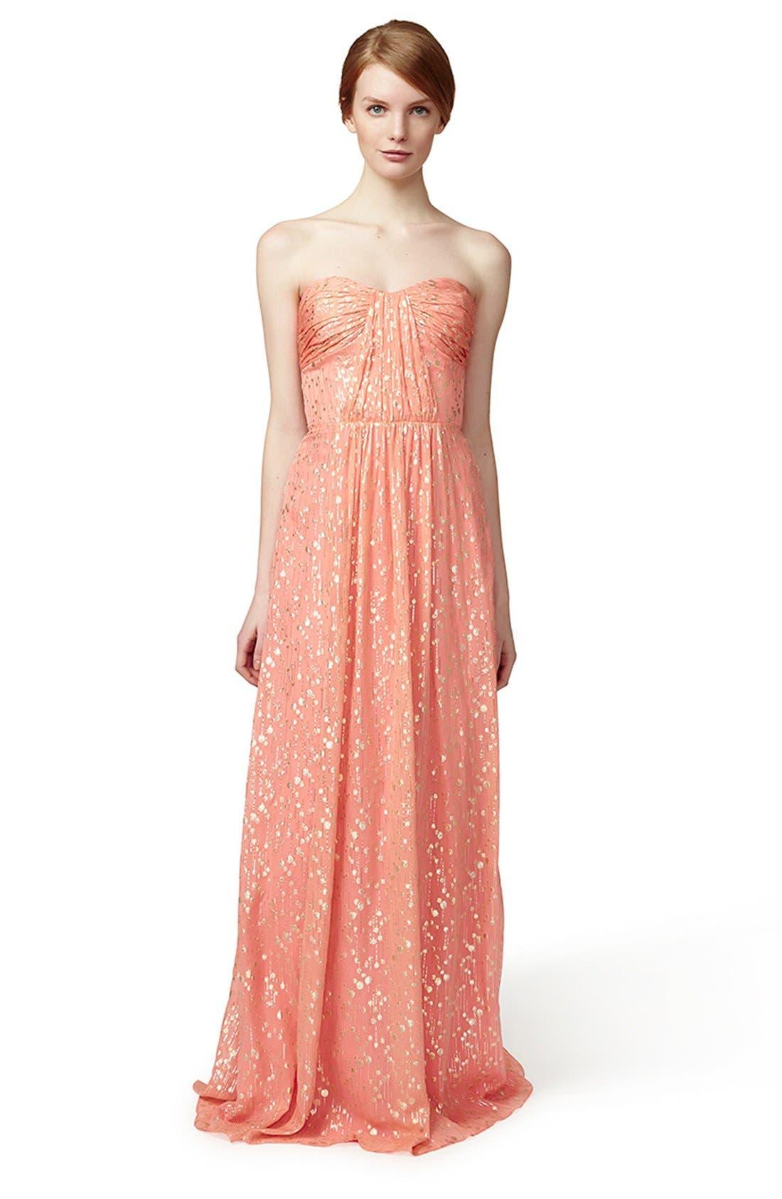 ERIN ERIN FETHERSTON, 'Monique' Foiled Silk Chiffon Gown, Alternate thumbnail 4, color, 950