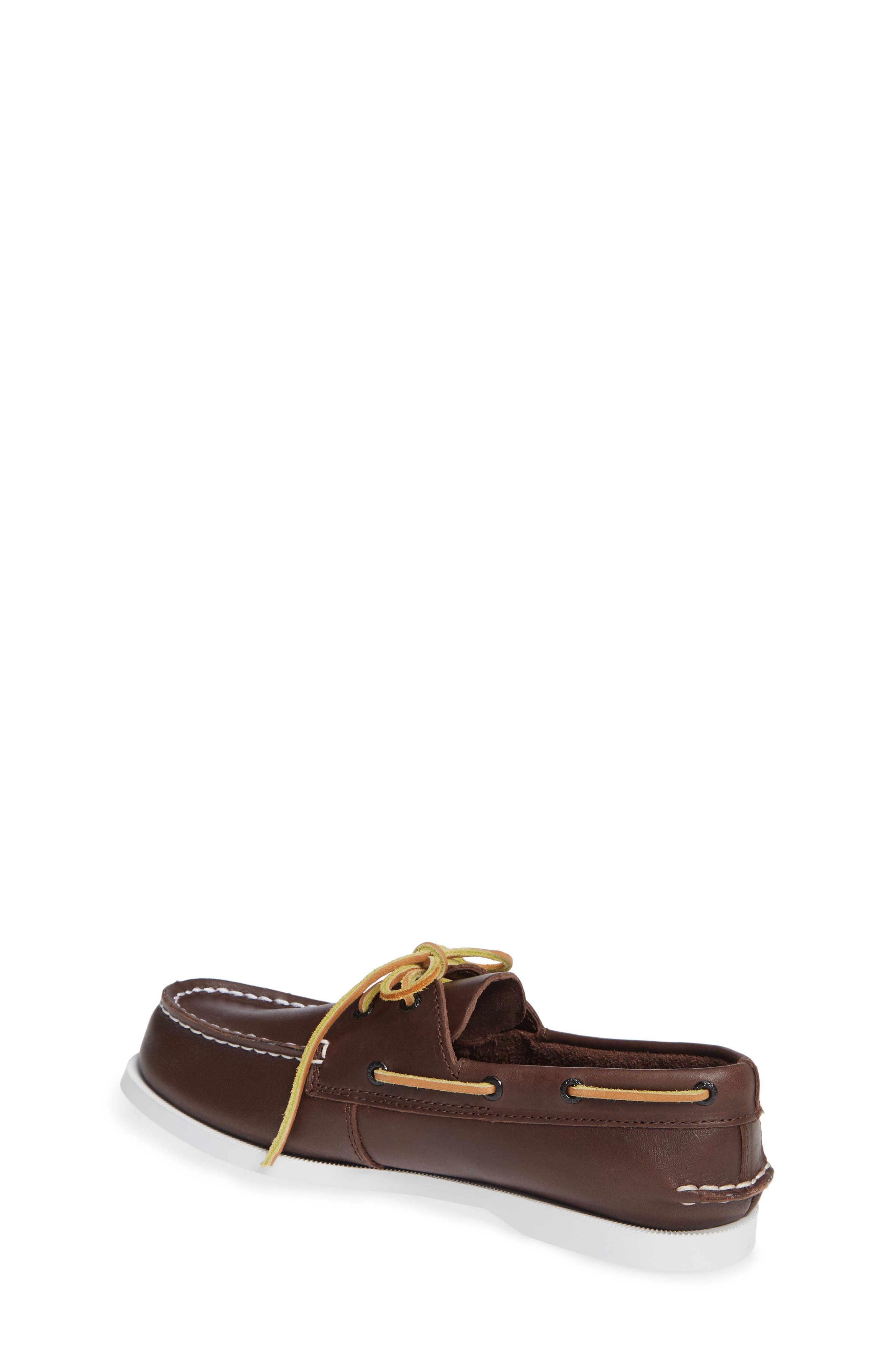 SPERRY KIDS, 'Authentic Original' Boat Shoe, Alternate thumbnail 3, color, BROWN LEATHER