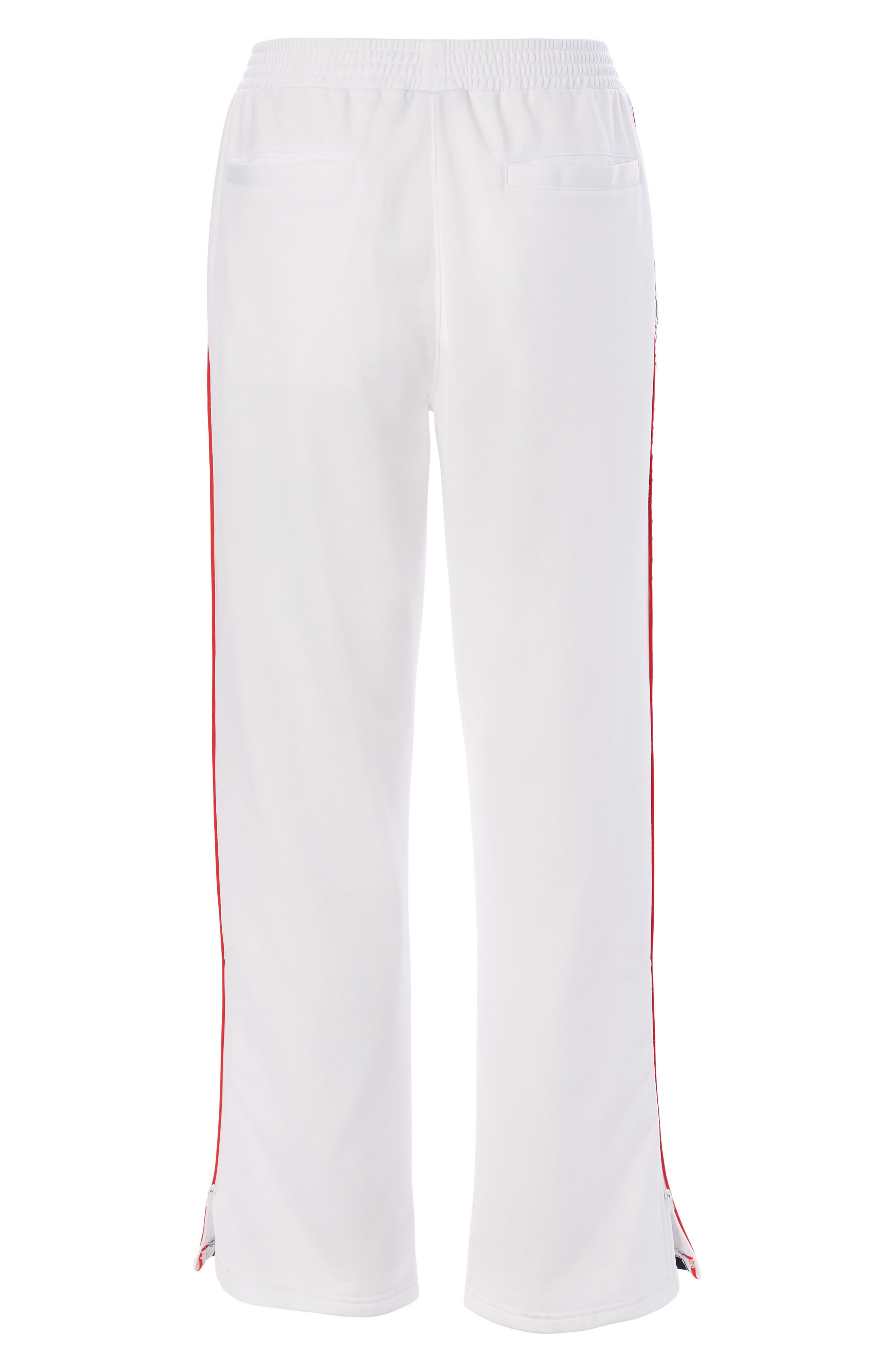 CHAMPION, Logo Tape Track Pants, Alternate thumbnail 6, color, WHITE