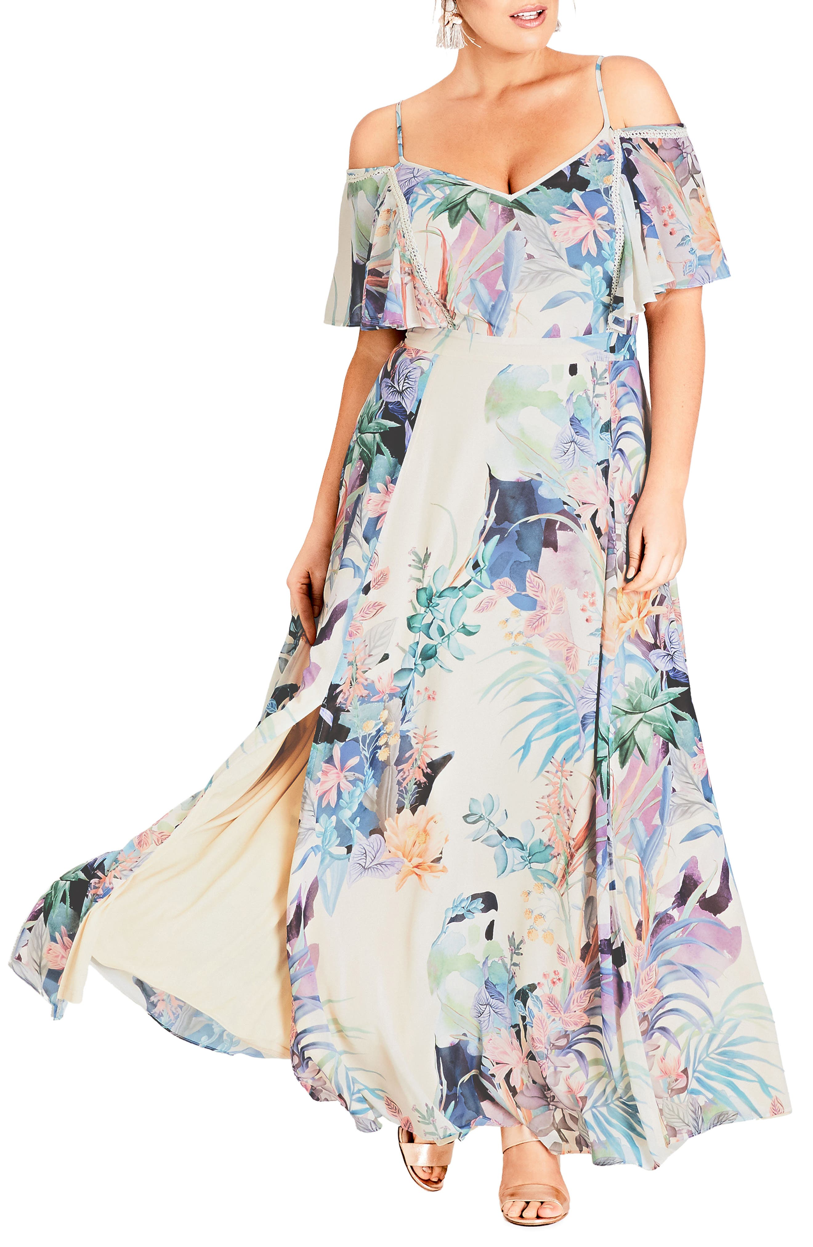 Plus Size City Chic Jungle Maxi Dress, Ivory