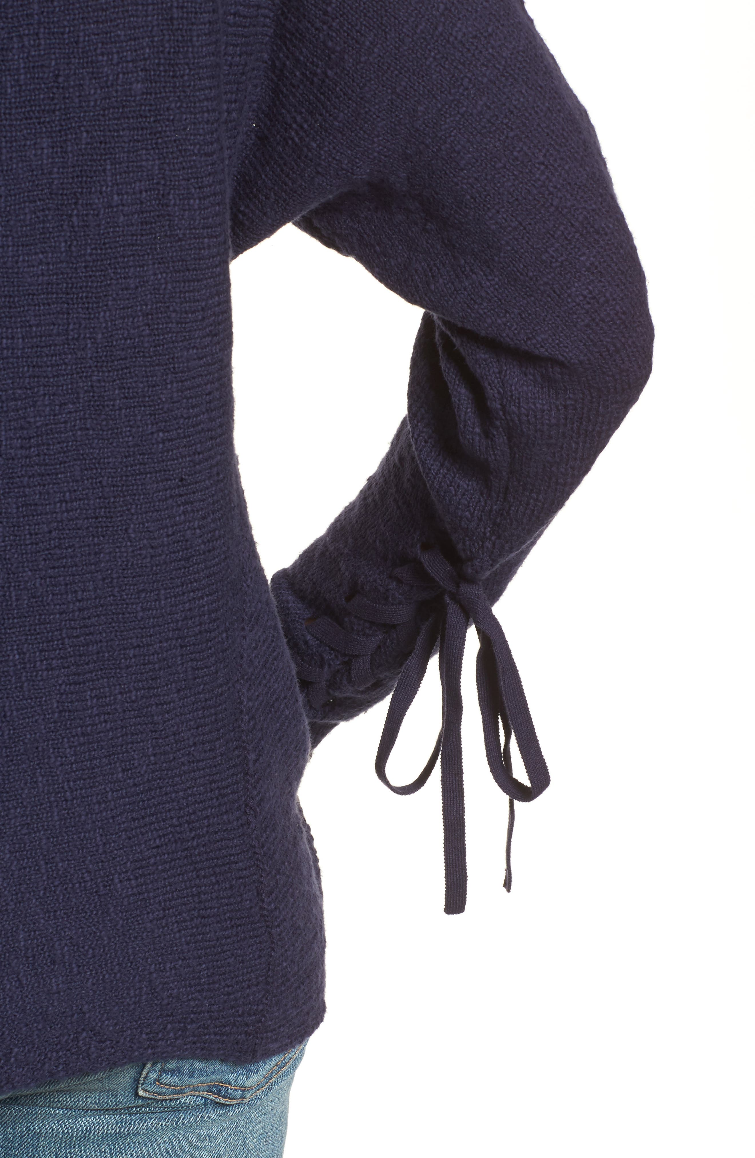 CASLON<SUP>®</SUP>, Mix Stitch Swing Cotton Sweater, Alternate thumbnail 4, color, NAVY PEACOAT
