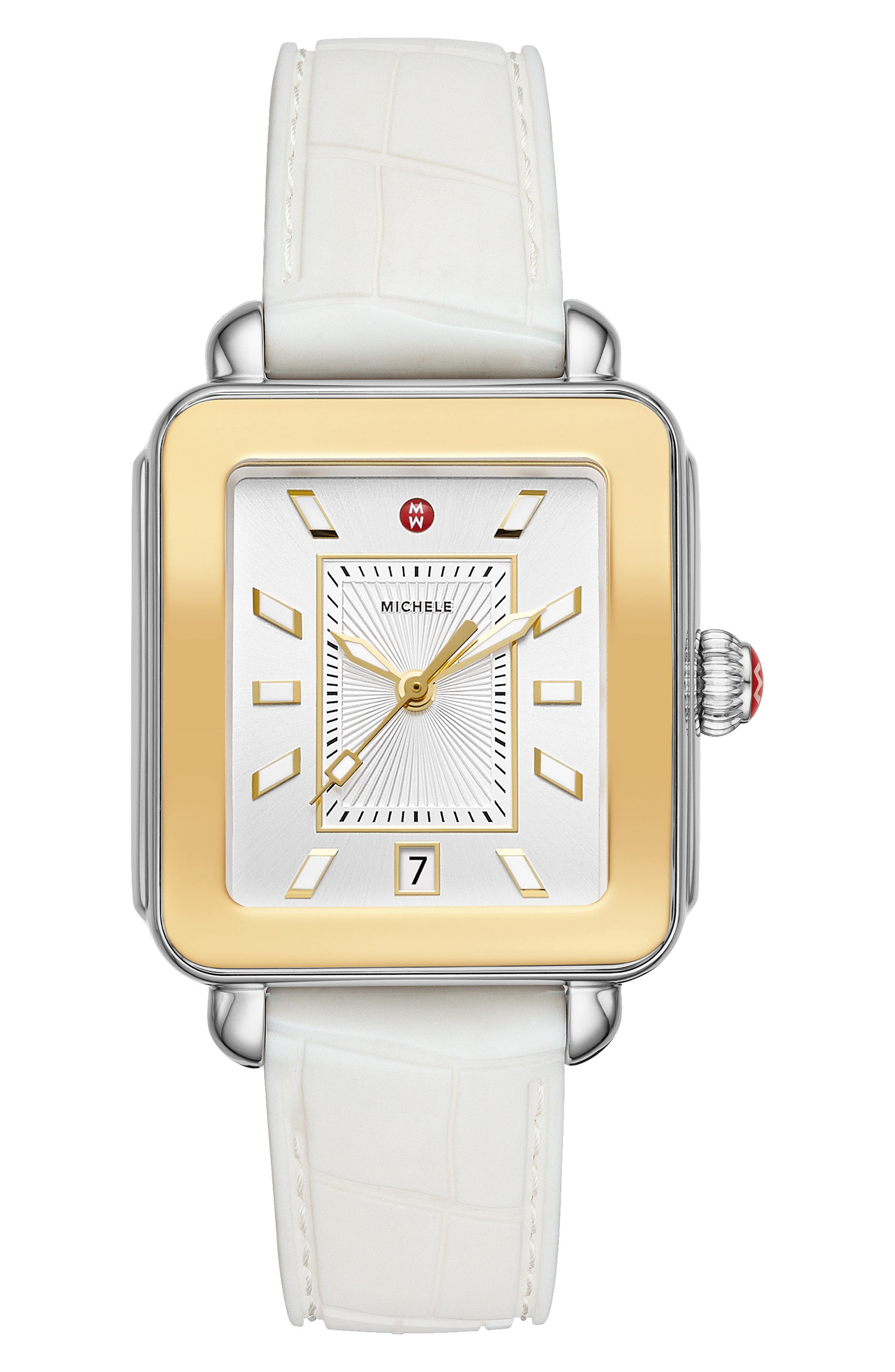 MICHELE, Deco Sport Watch Head & Silicone Strap Watch, 34mm x 36mm, Main thumbnail 1, color, WHITE/ SILVER SUNRAY/ GOLD