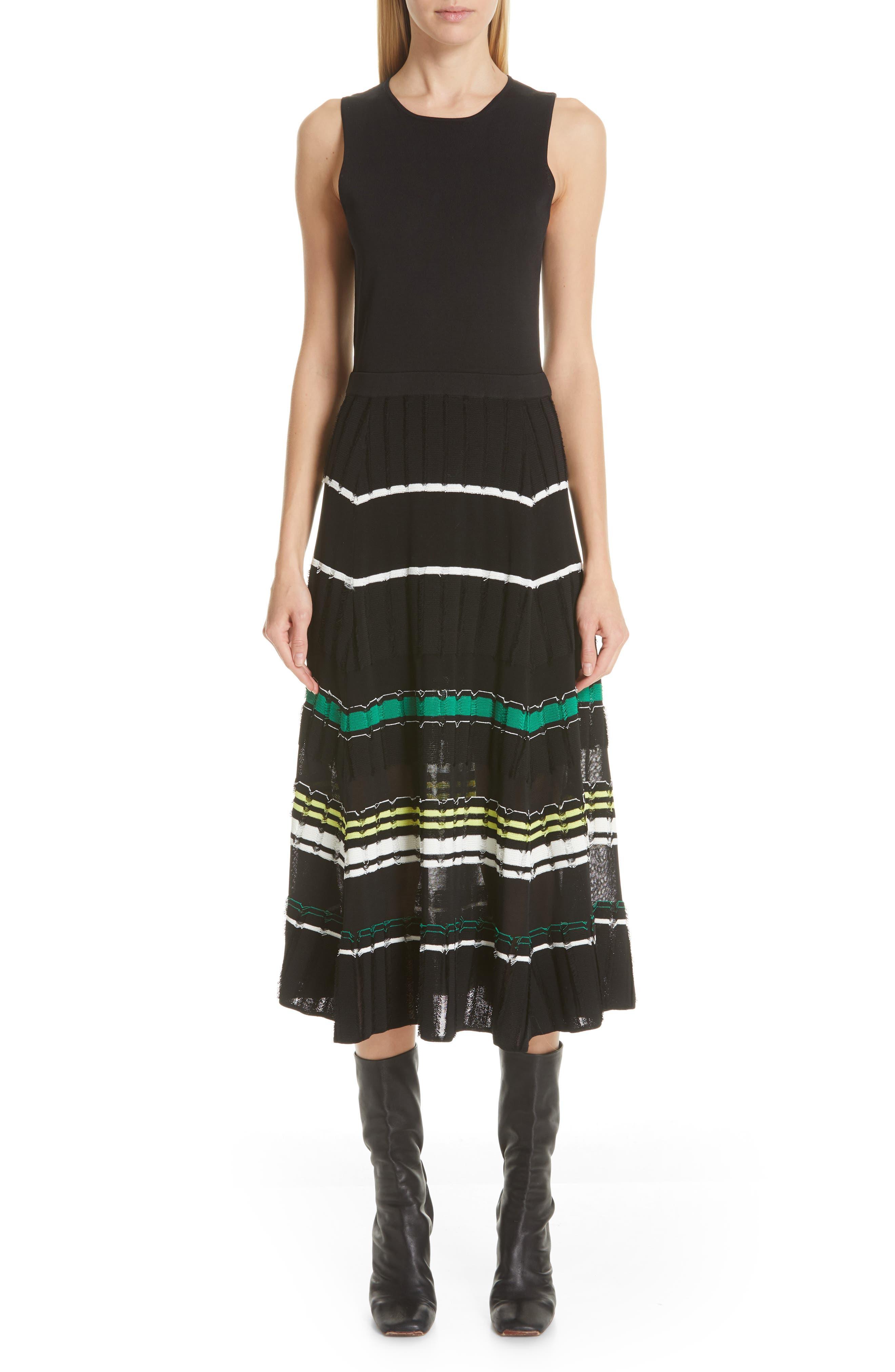Proenza Schouler Stripe Knit Dress, Black