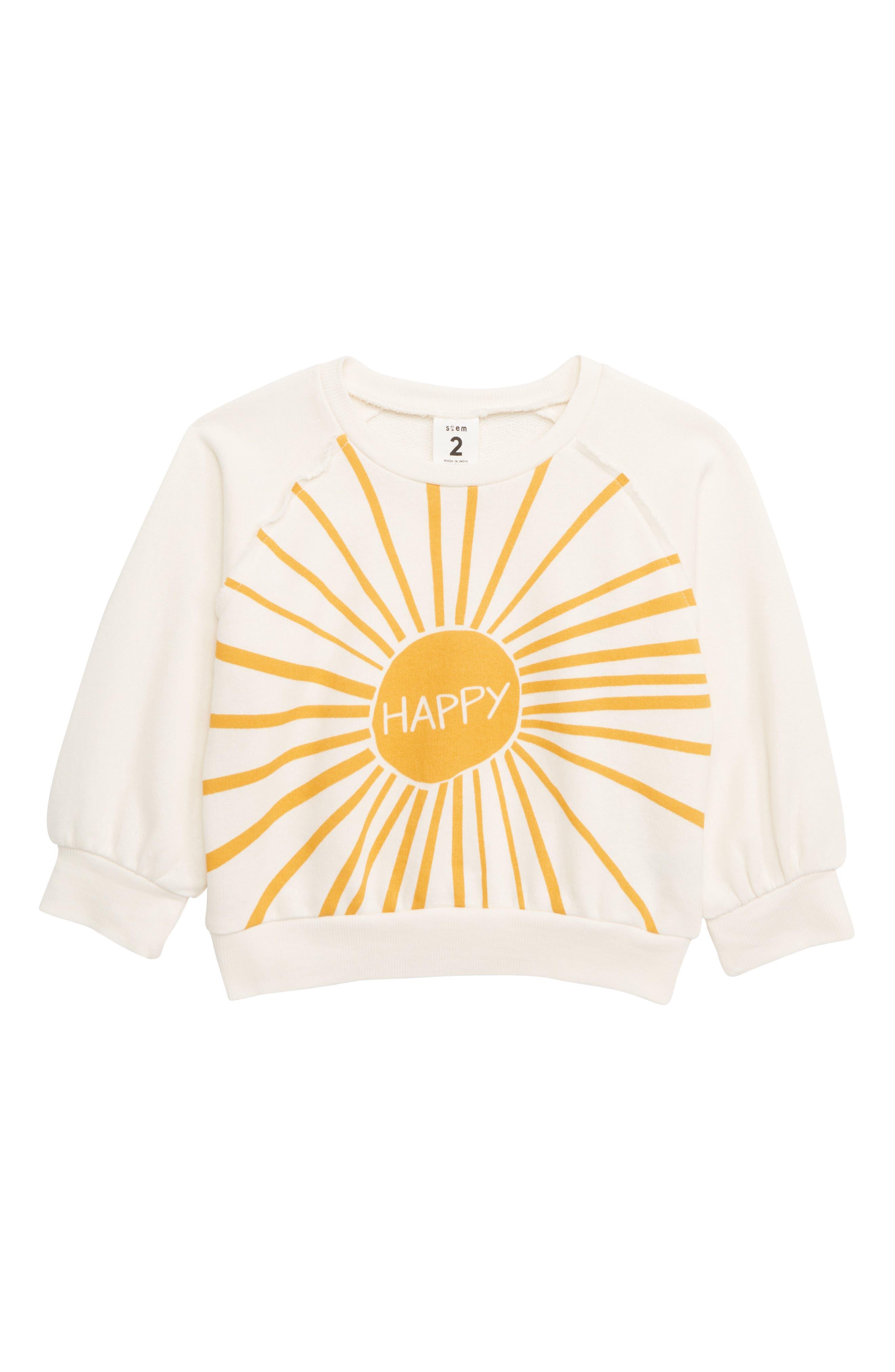 Toddler Girls Stem Swoop Graphic Sweatshirt Size 3T  Ivory