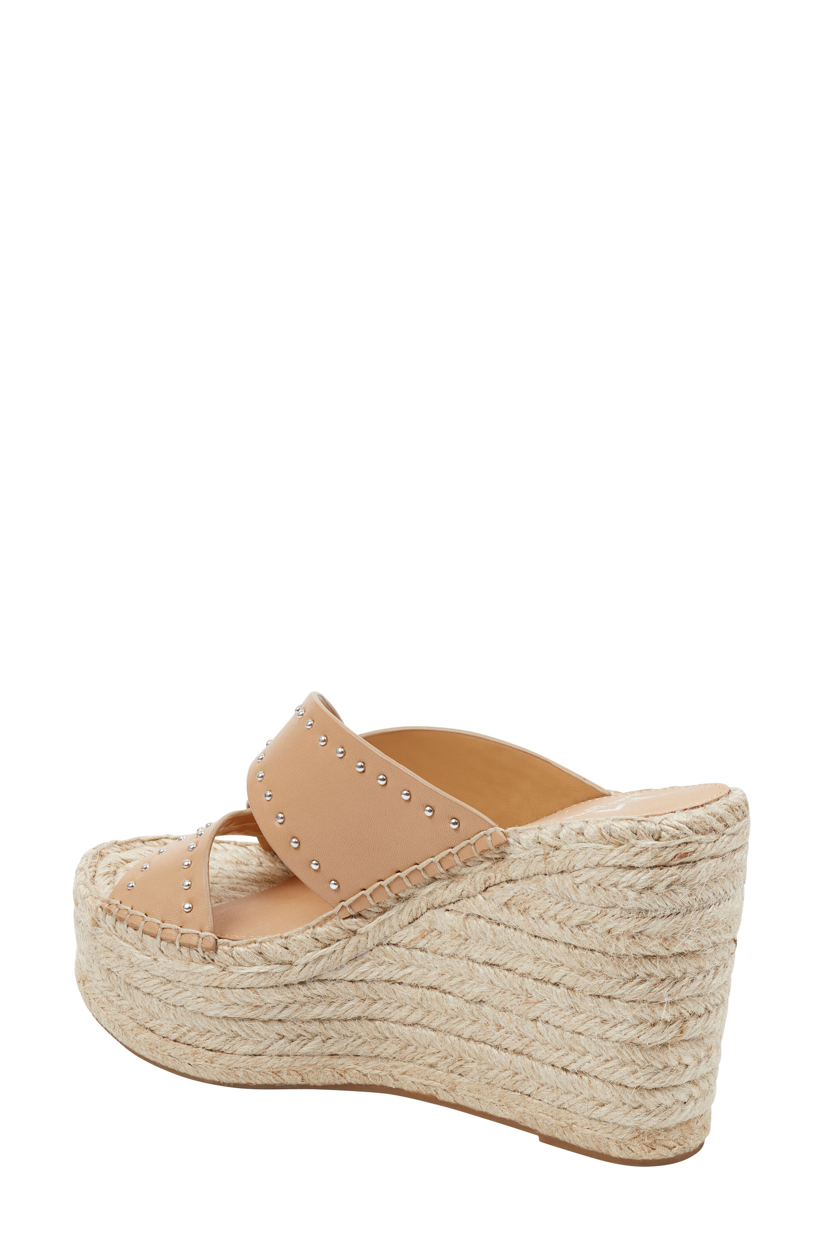 MARC FISHER LTD, Angelina Espadrille Wedge, Alternate thumbnail 2, color, TAN LEATHER