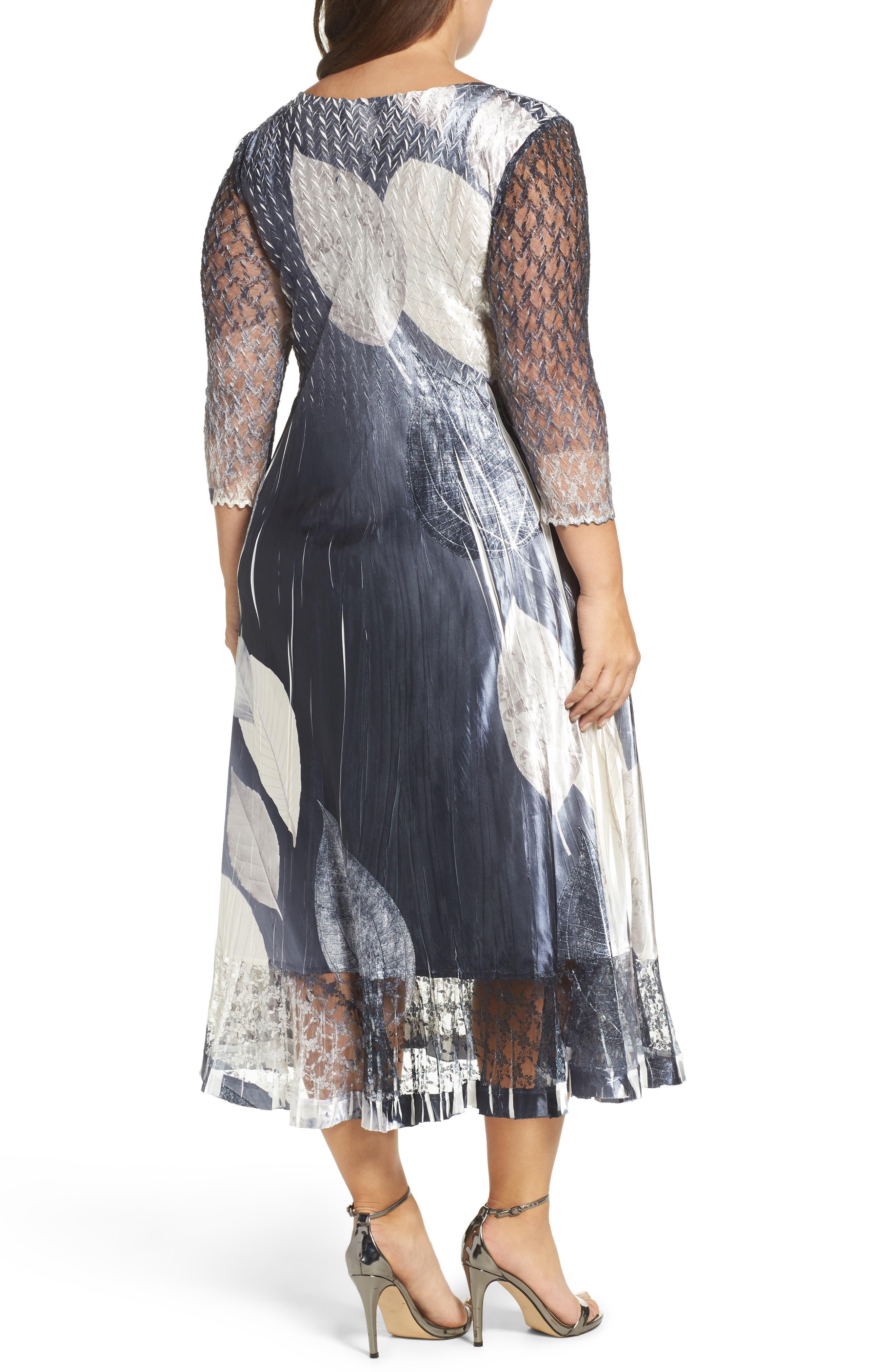 KOMAROV, Mixed Media Midi Dress, Alternate thumbnail 2, color, BLACK MONEY LEAVES