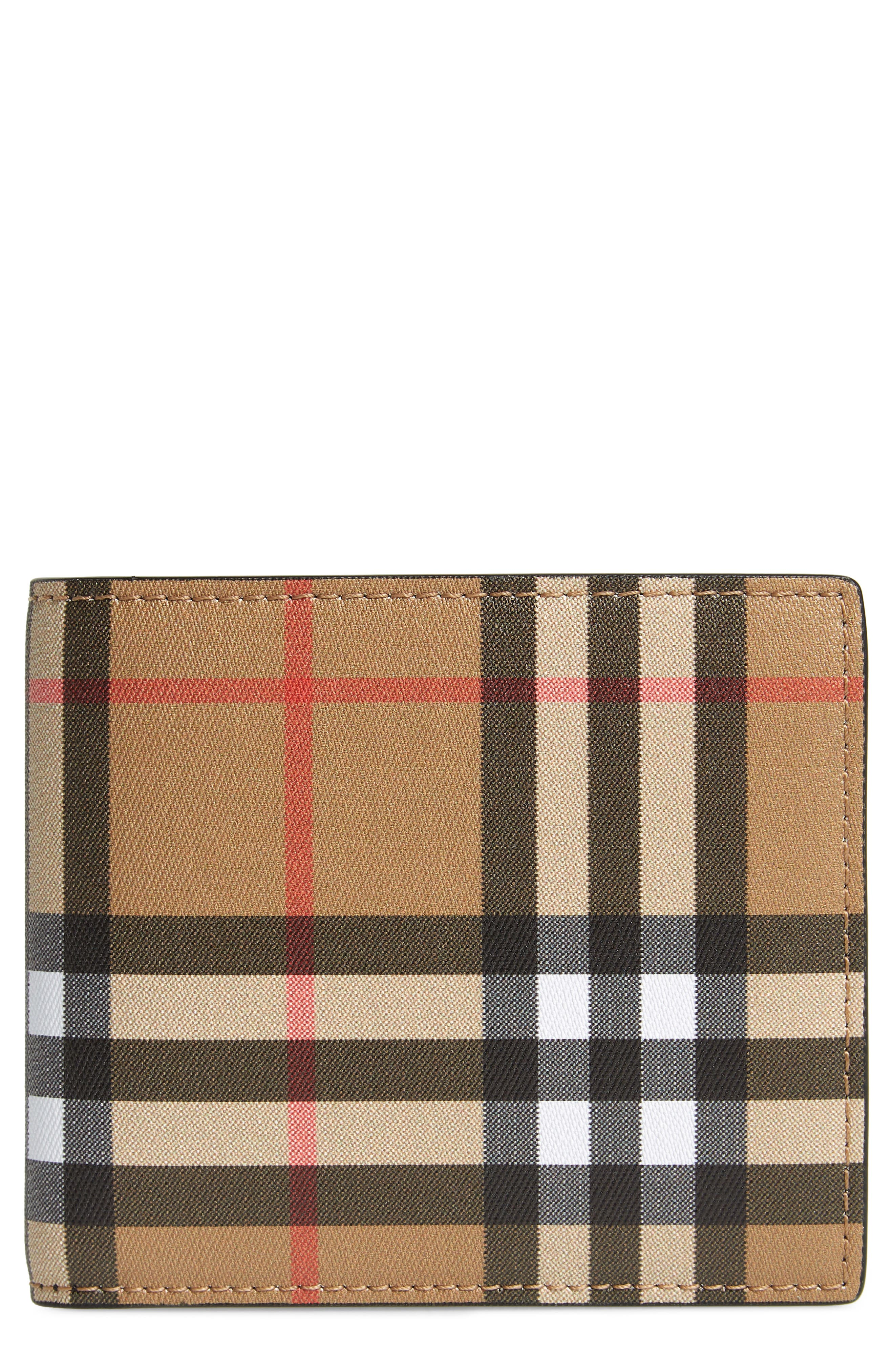 BURBERRY Horseferry Leather Wallet, Main, color, 001