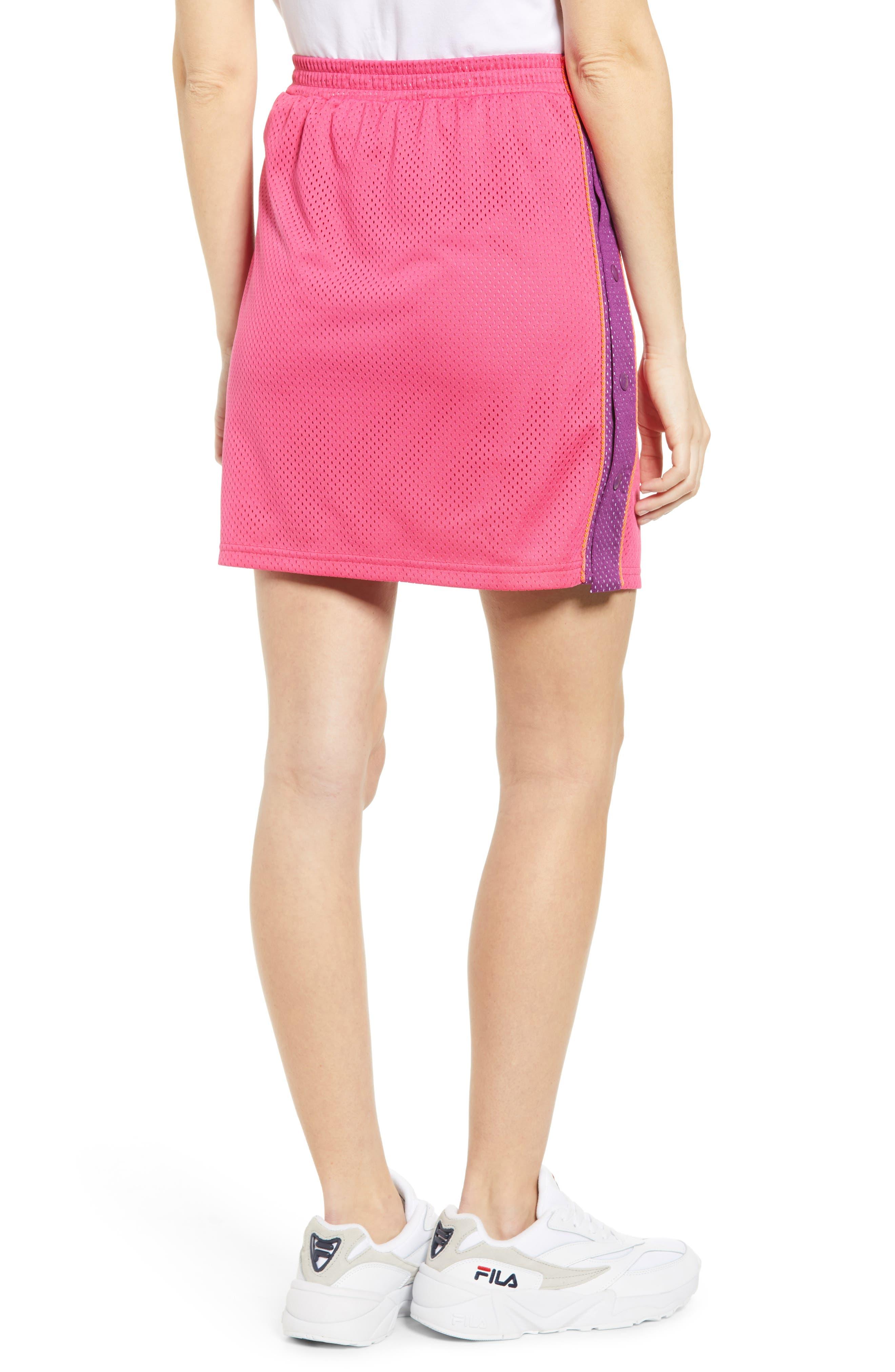 FILA, Miriam Tearaway Miniskirt, Alternate thumbnail 2, color, FUCHSIA PURPLE/ GRAPE/ GREEN