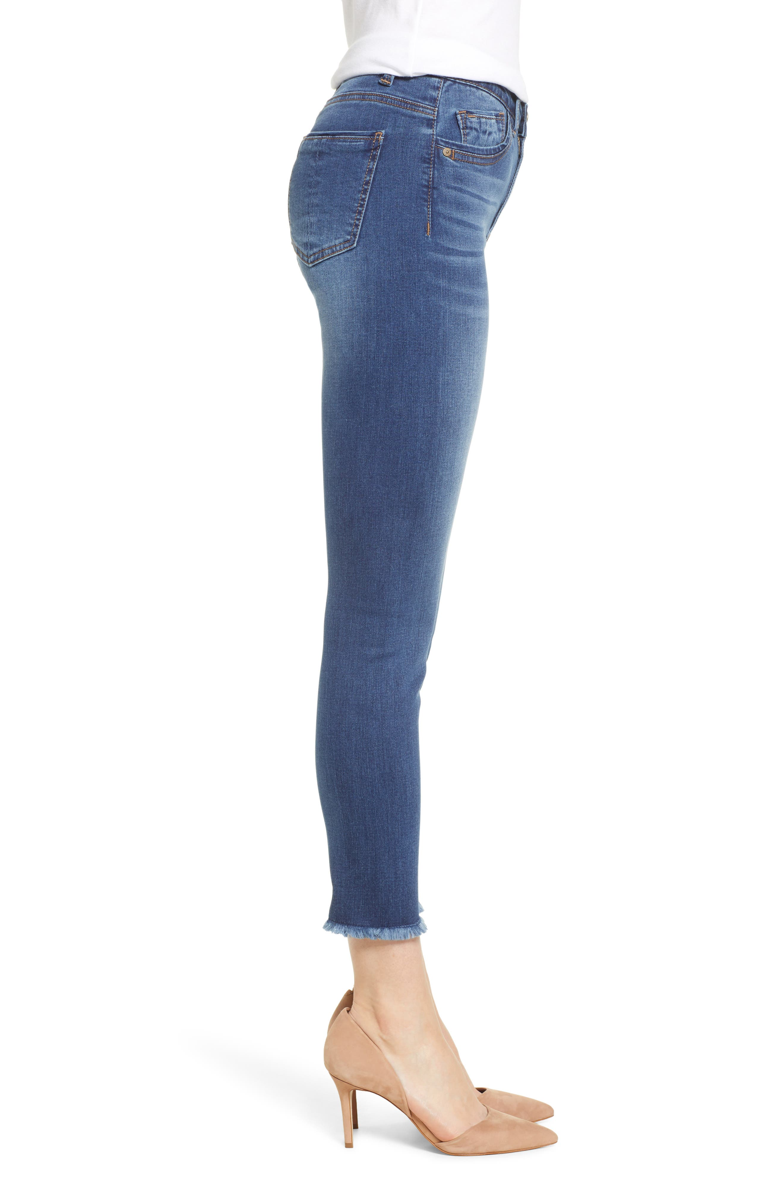 WIT & WISDOM, High Waist Fray Hem Seamless Skinny Ankle Jeans, Alternate thumbnail 4, color, BLUE