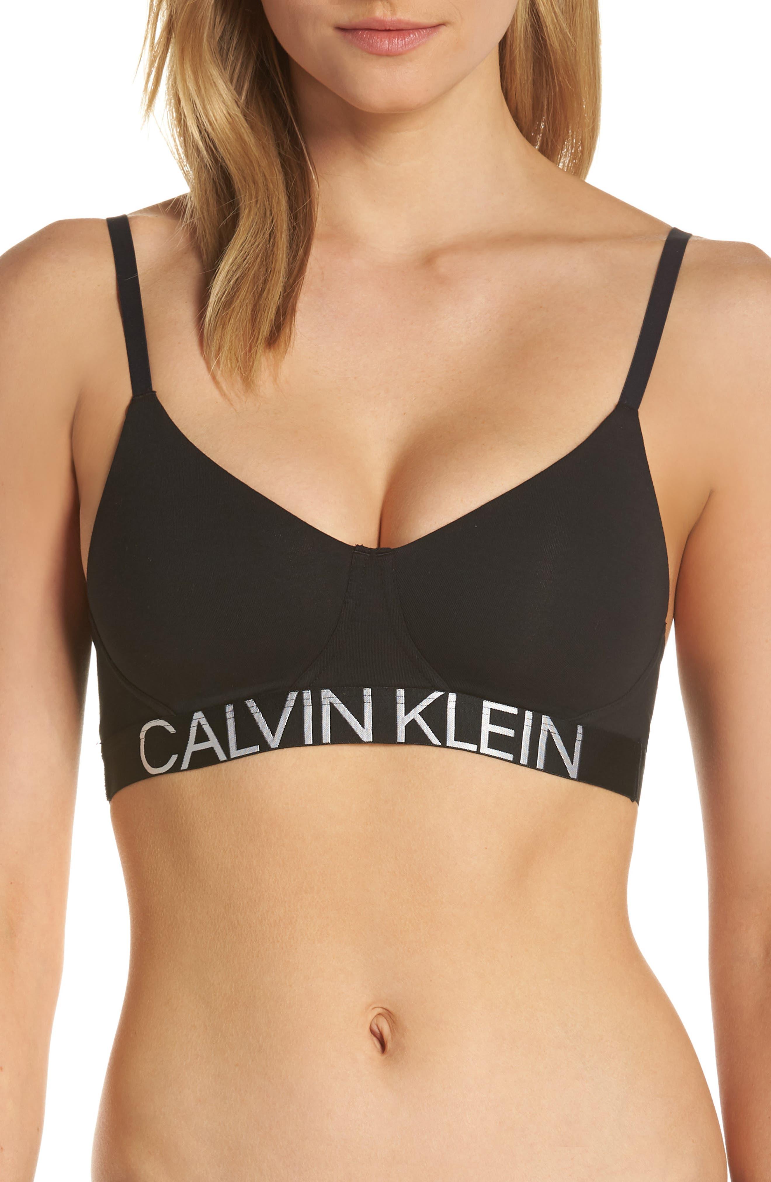 CALVIN KLEIN Statement 1981 Convertible Soft Cup Bralette, Main, color, BLACK