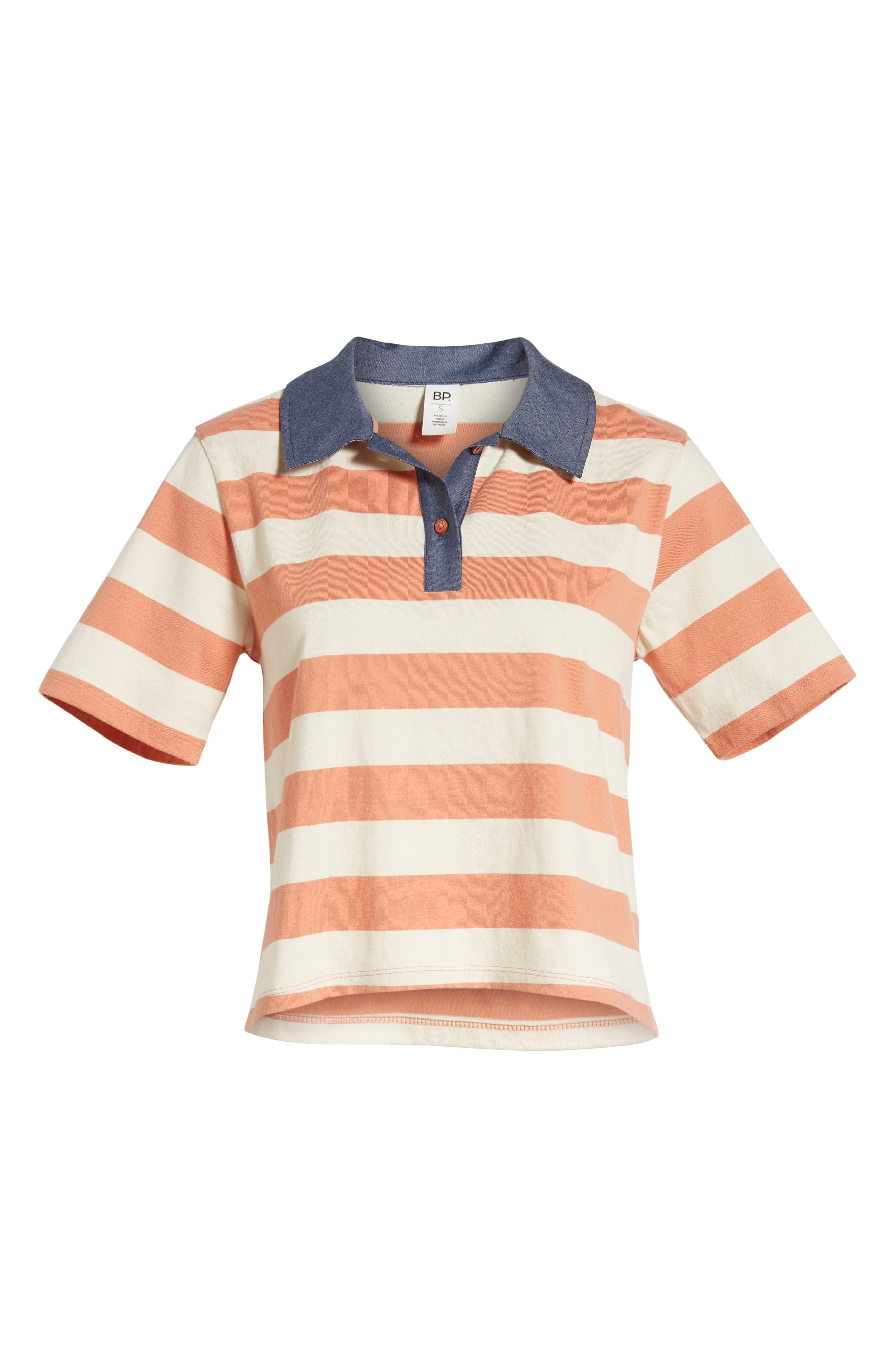 BP., Chambray Collar Polo, Alternate thumbnail 7, color, CORAL CLAY ROCKYPORT STRIPE