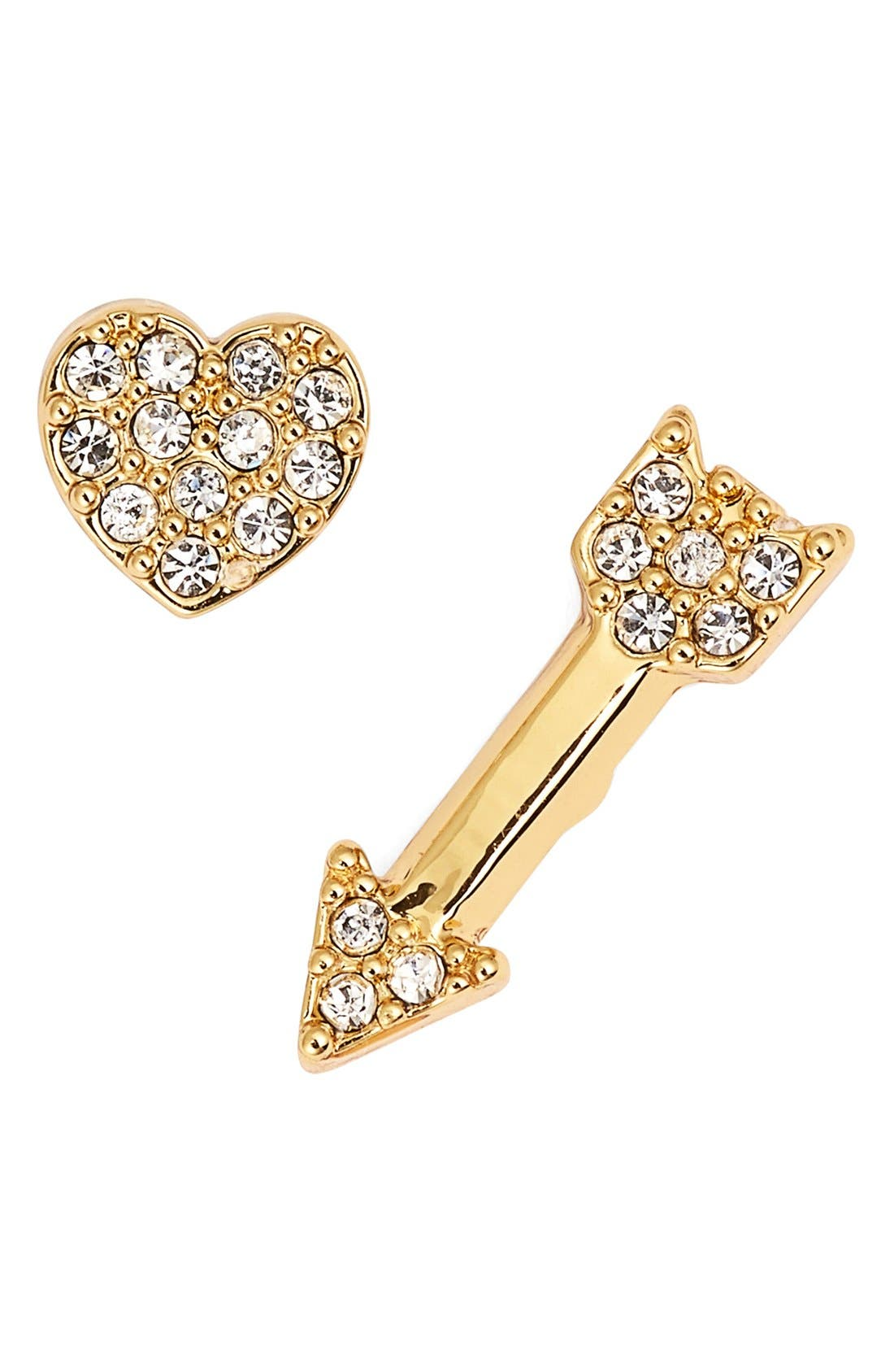 KATE SPADE NEW YORK, 'love list' heart & arrow mismatched stud earrings, Main thumbnail 1, color, 100