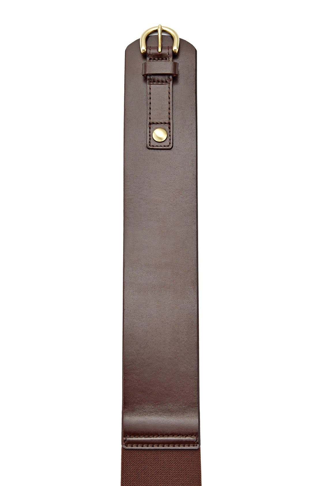 FOSSIL, Wide Leather Belt, Alternate thumbnail 2, color, 200