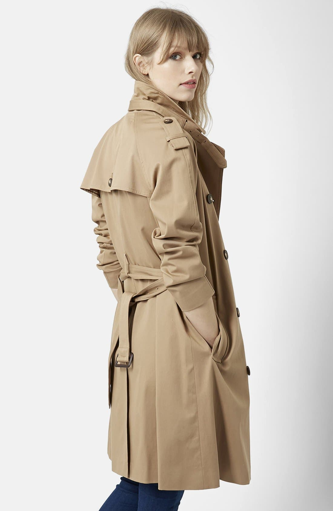 TOPSHOP, Double Breasted Cotton Trench, Alternate thumbnail 4, color, 252