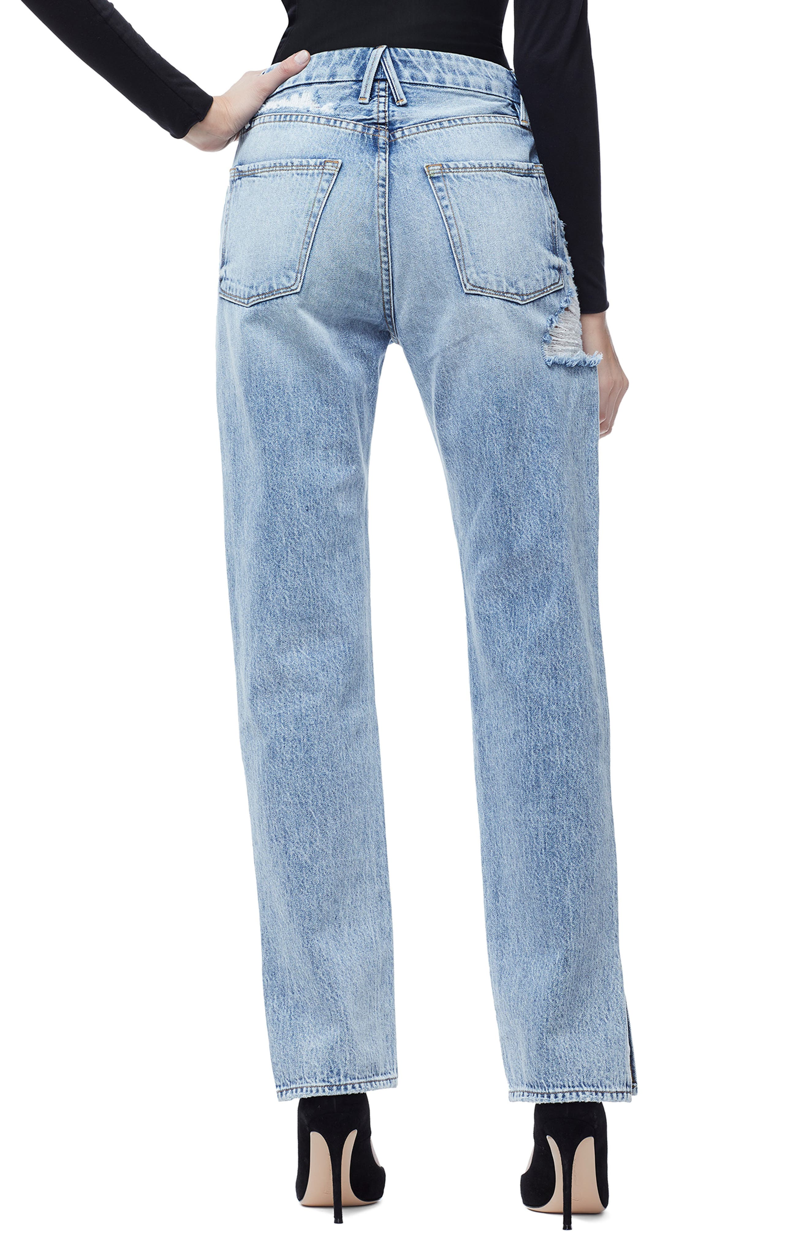GOOD AMERICAN, Good Boy High Rise Ripped Boyfriend Jeans, Alternate thumbnail 3, color, BLUE 177