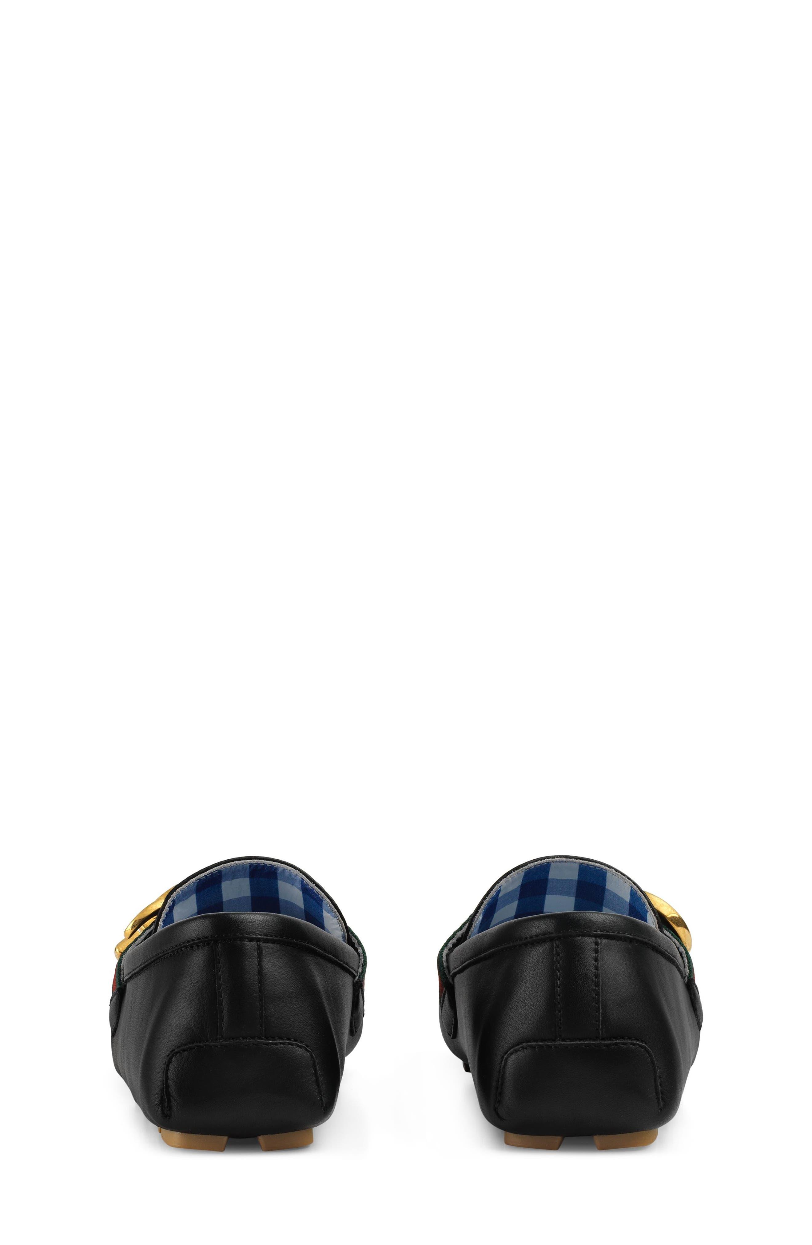 GUCCI, Noel Driving Loafer, Alternate thumbnail 7, color, BLACK