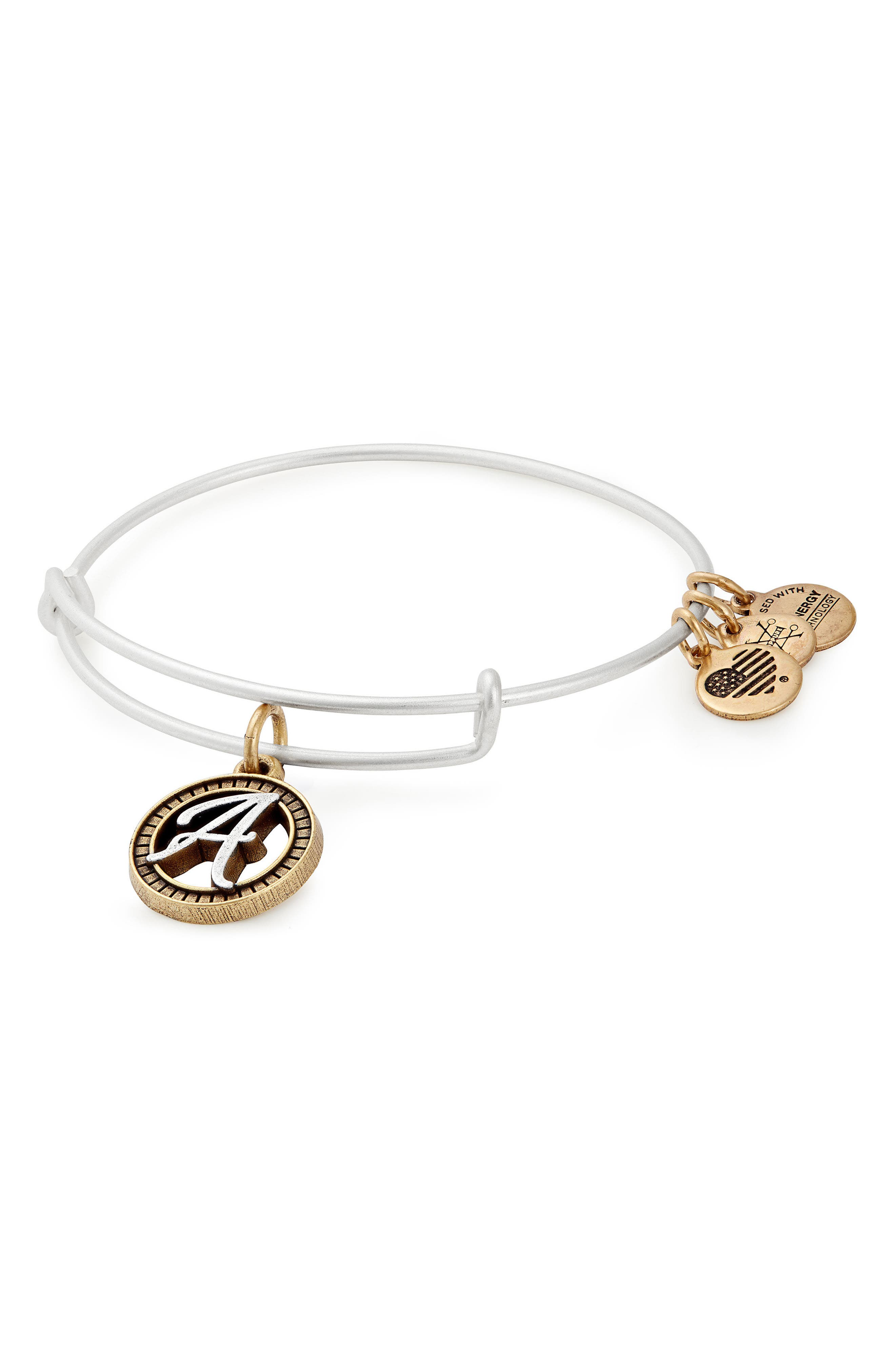 ALEX AND ANI, Two-Tone Initial Charm Expandable Bracelet, Main thumbnail 1, color, TWO-TONE-A