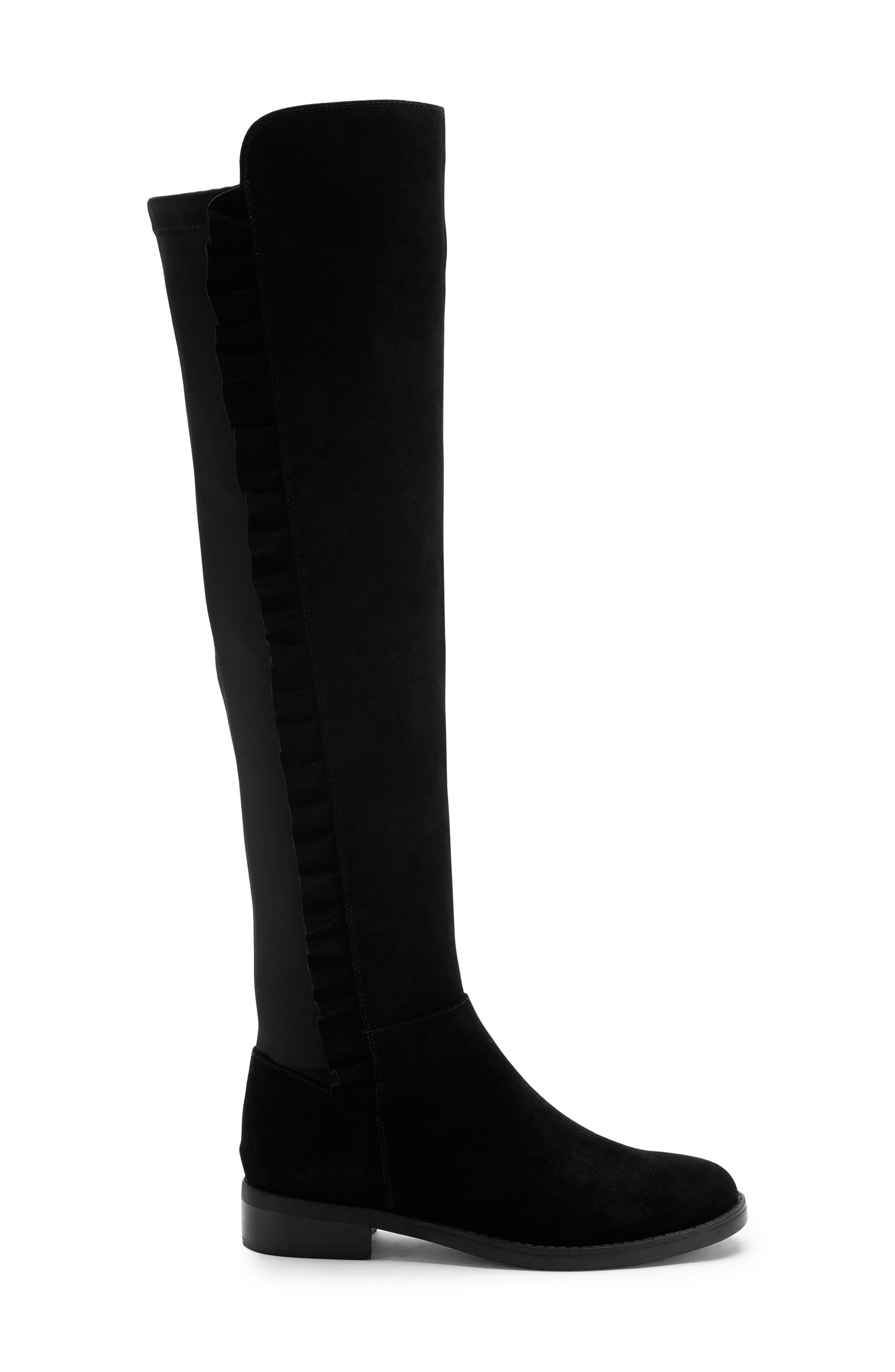 BLONDO, Ethos Over the Knee Waterproof Stretch Boot, Alternate thumbnail 3, color, BLACK SUEDE