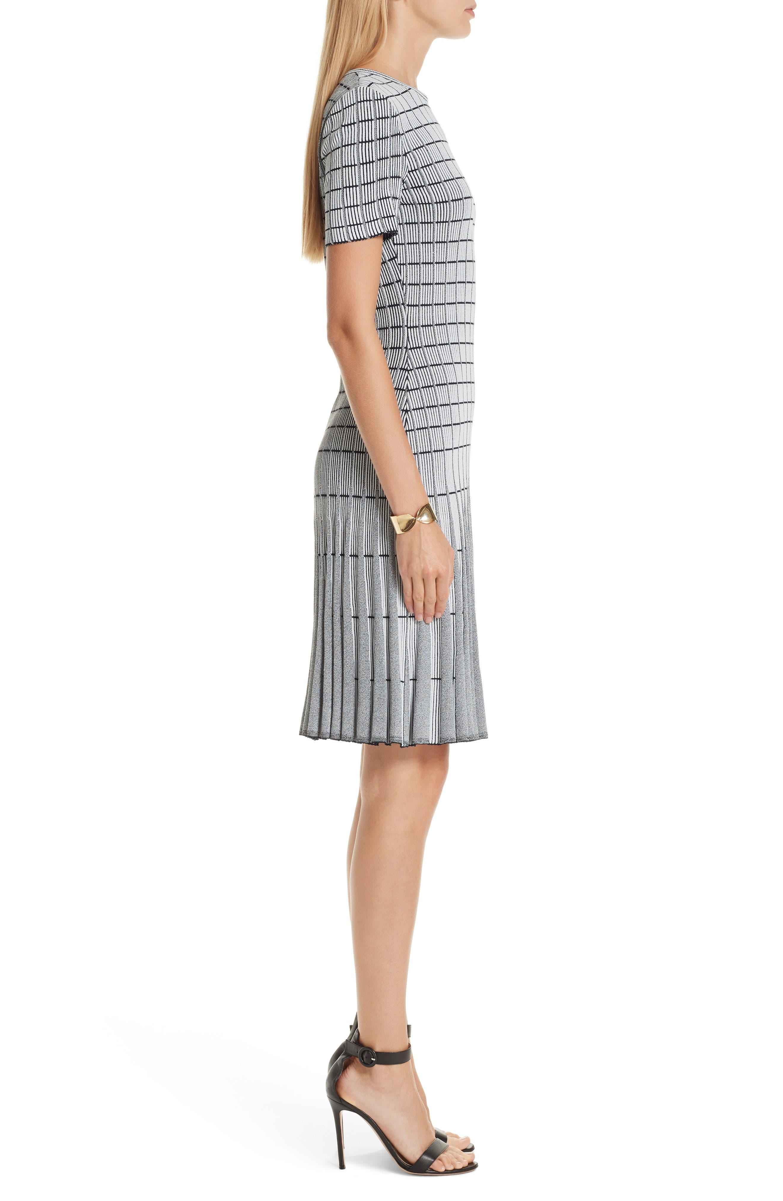 ST. JOHN COLLECTION, Monochrome Ottoman Knit Dress, Alternate thumbnail 5, color, GREY/ NAVY